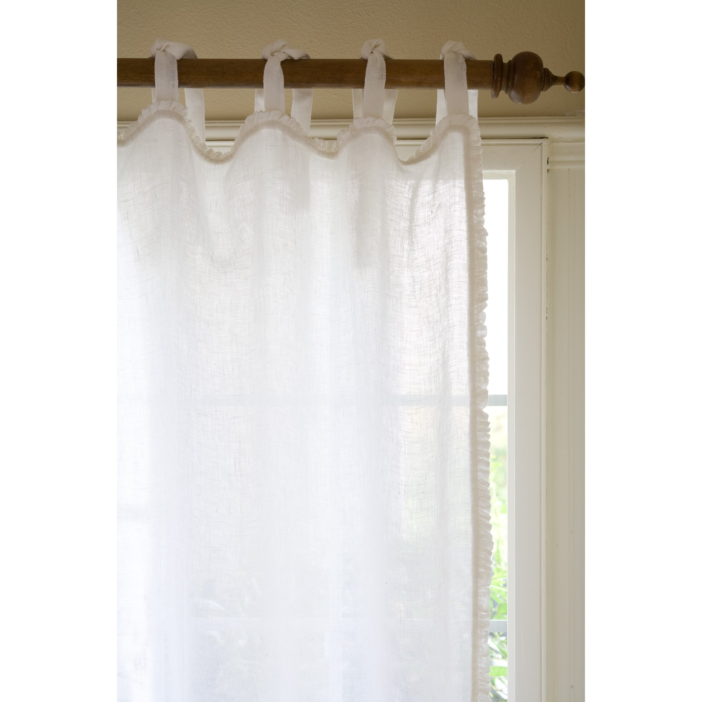 Taylor Linens Ruffle Linen Tab Top Single Curtain Panel