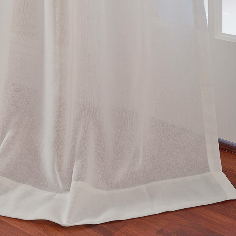 Half price drapes faux linen sheer rod pocket single for Linen sheer window panels