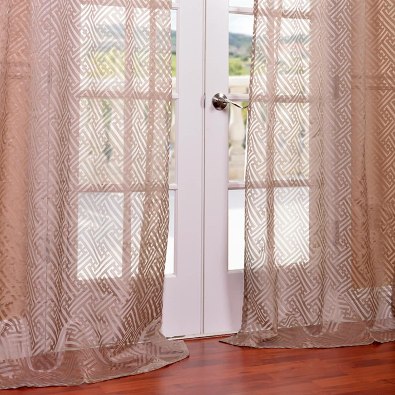 Half price drapes zara patterned sheer single curtain for Patterned sheer curtain panels