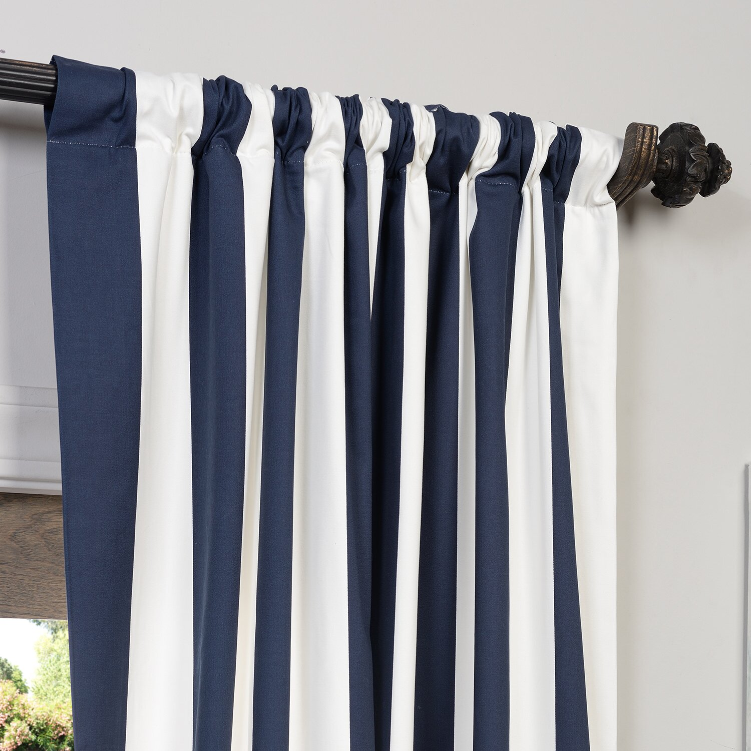 Half Price Drapes Cabana Printed Cotton Rod Pocket Semi