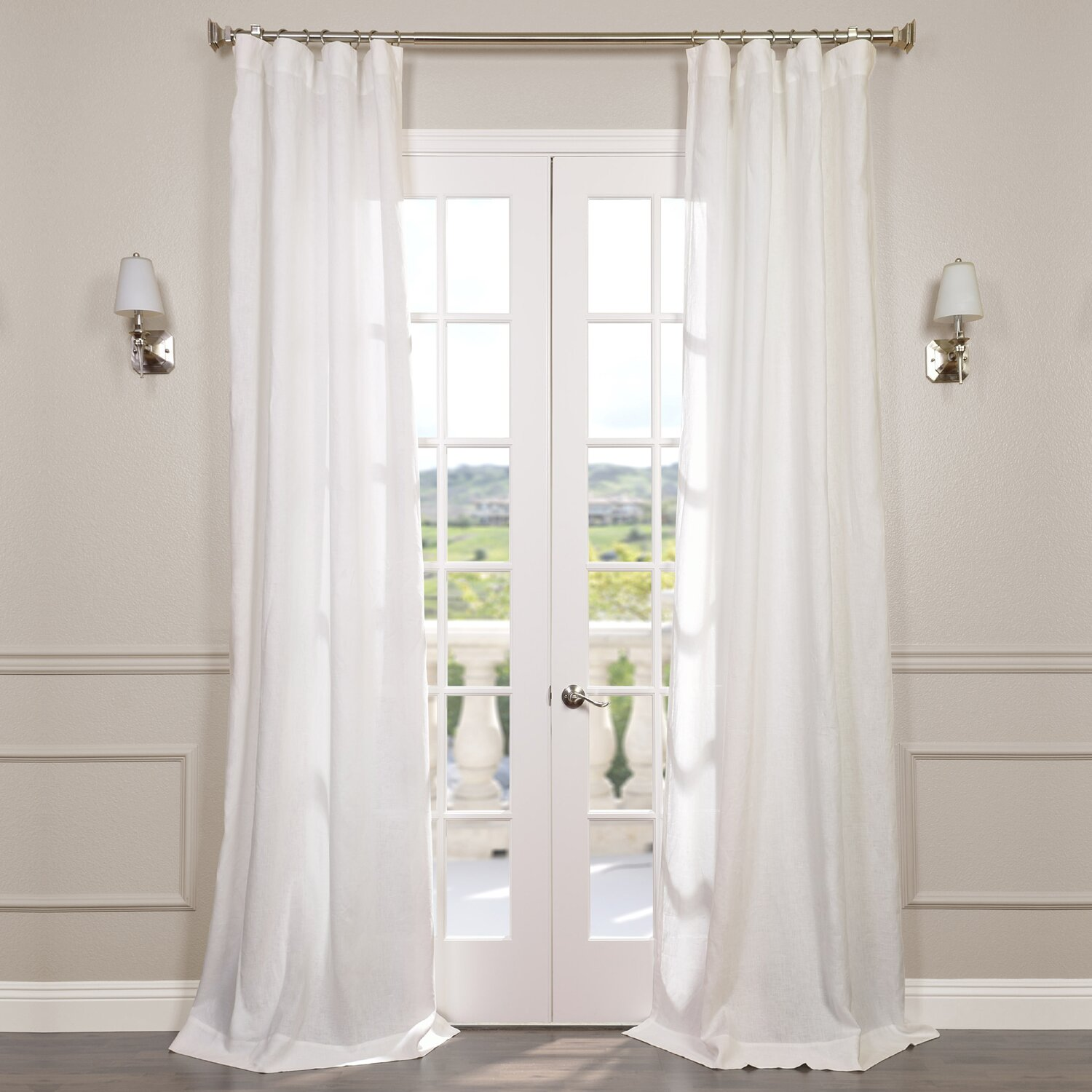 Half Price Drapes Signature Lace French Linen Pleated Semi