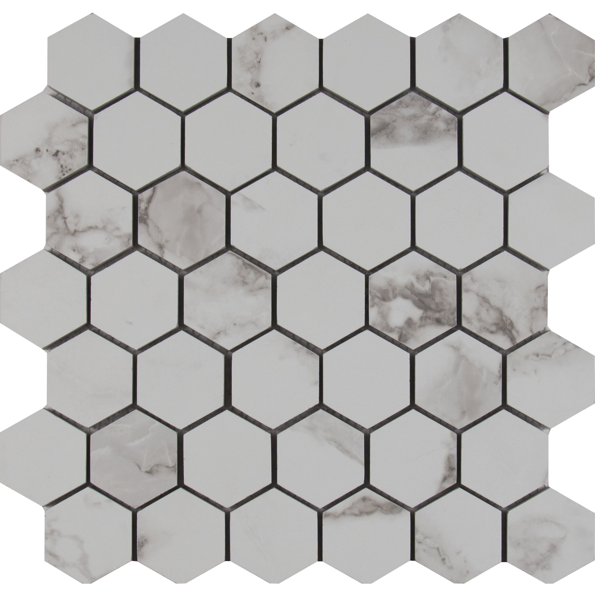 Msi Statuario 2 Quot X 2 Quot Hexagon Porcelain Mosaic Tile In