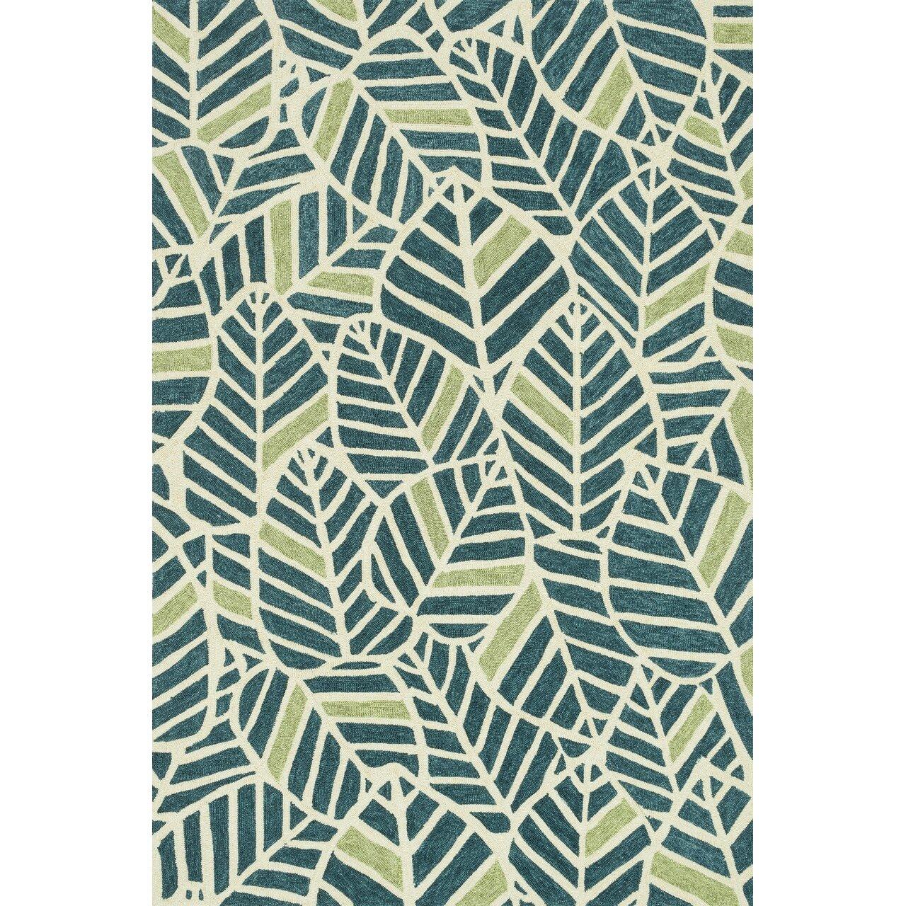 Loloi rugs tropez hand hooked blue green indoor outdoor for Blue indoor outdoor rug