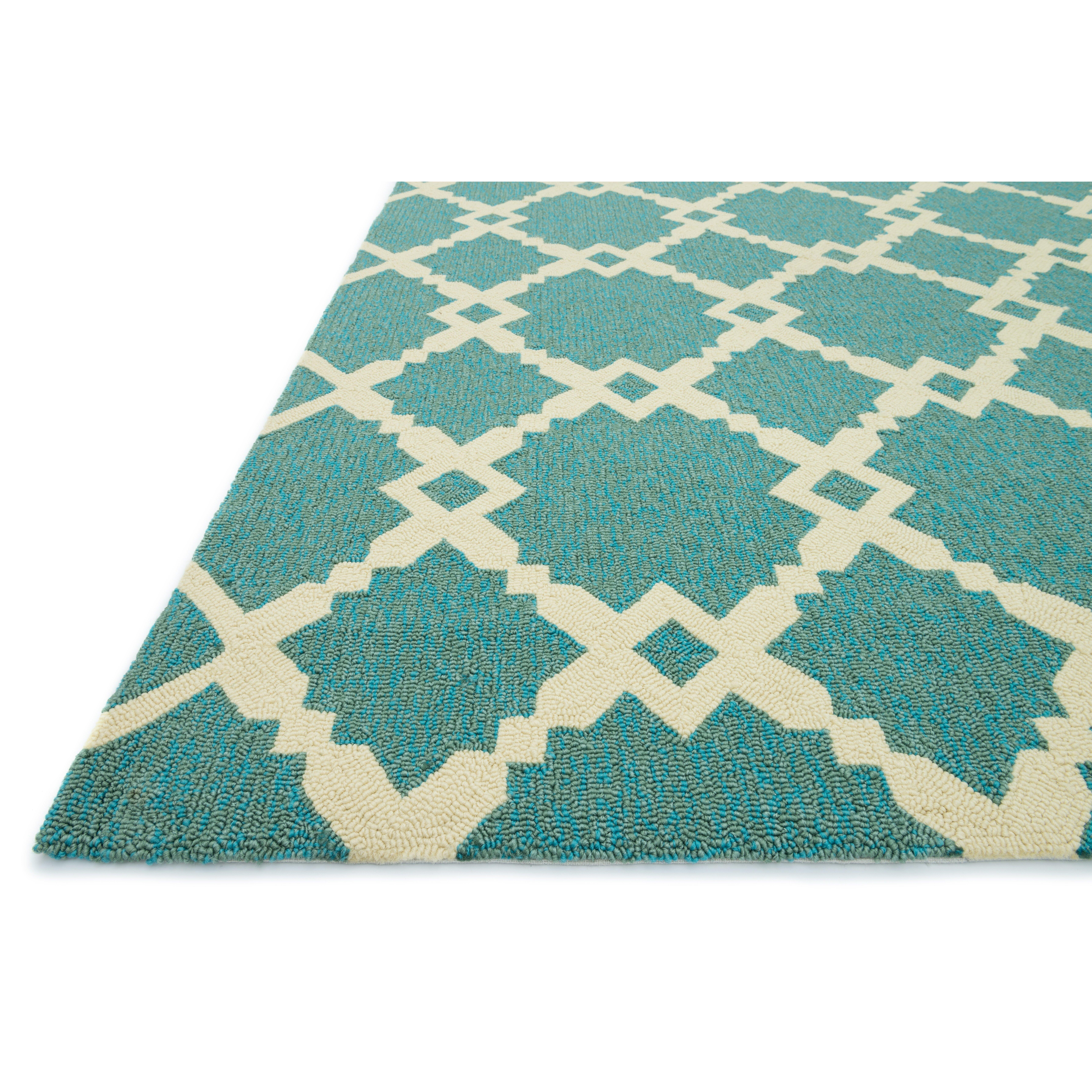 Loloi Rugs Ventura Geometric Turquoise Ivory Indoor