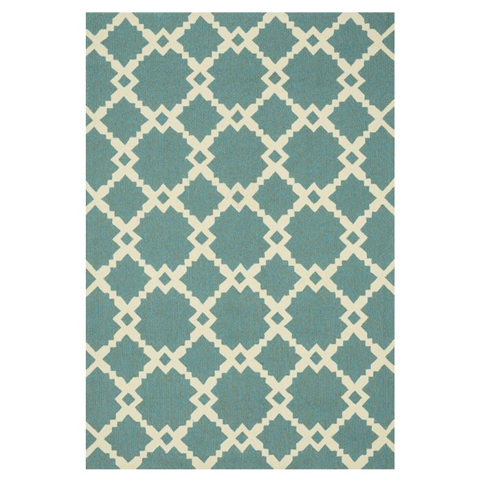 Loloi Rugs Ventura Geometric Turquoise/Ivory Indoor