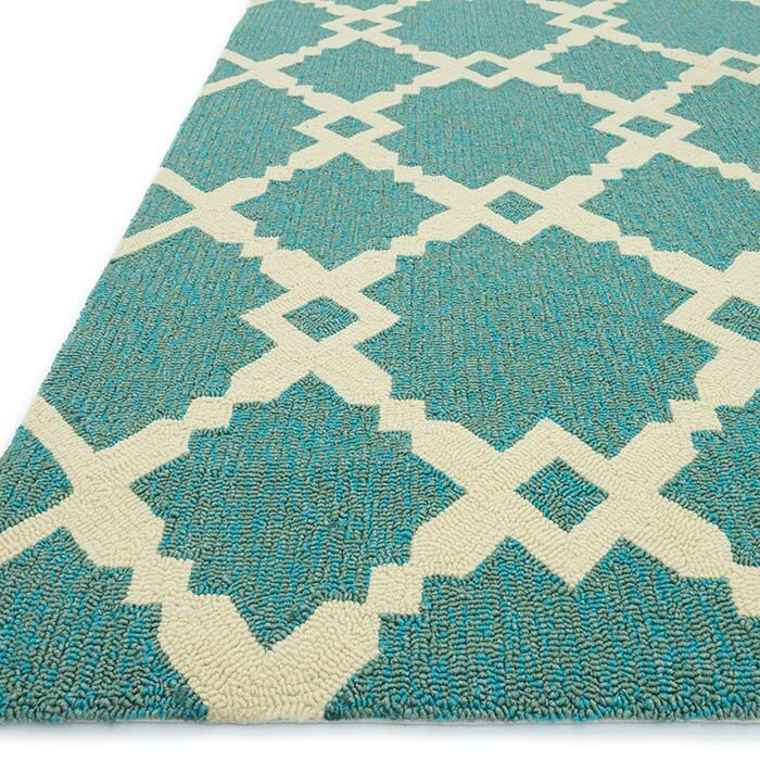 Trina Indoor Outdoor Rug Brown Turquoise: Loloi Rugs Ventura Geometric Turquoise/Ivory Indoor