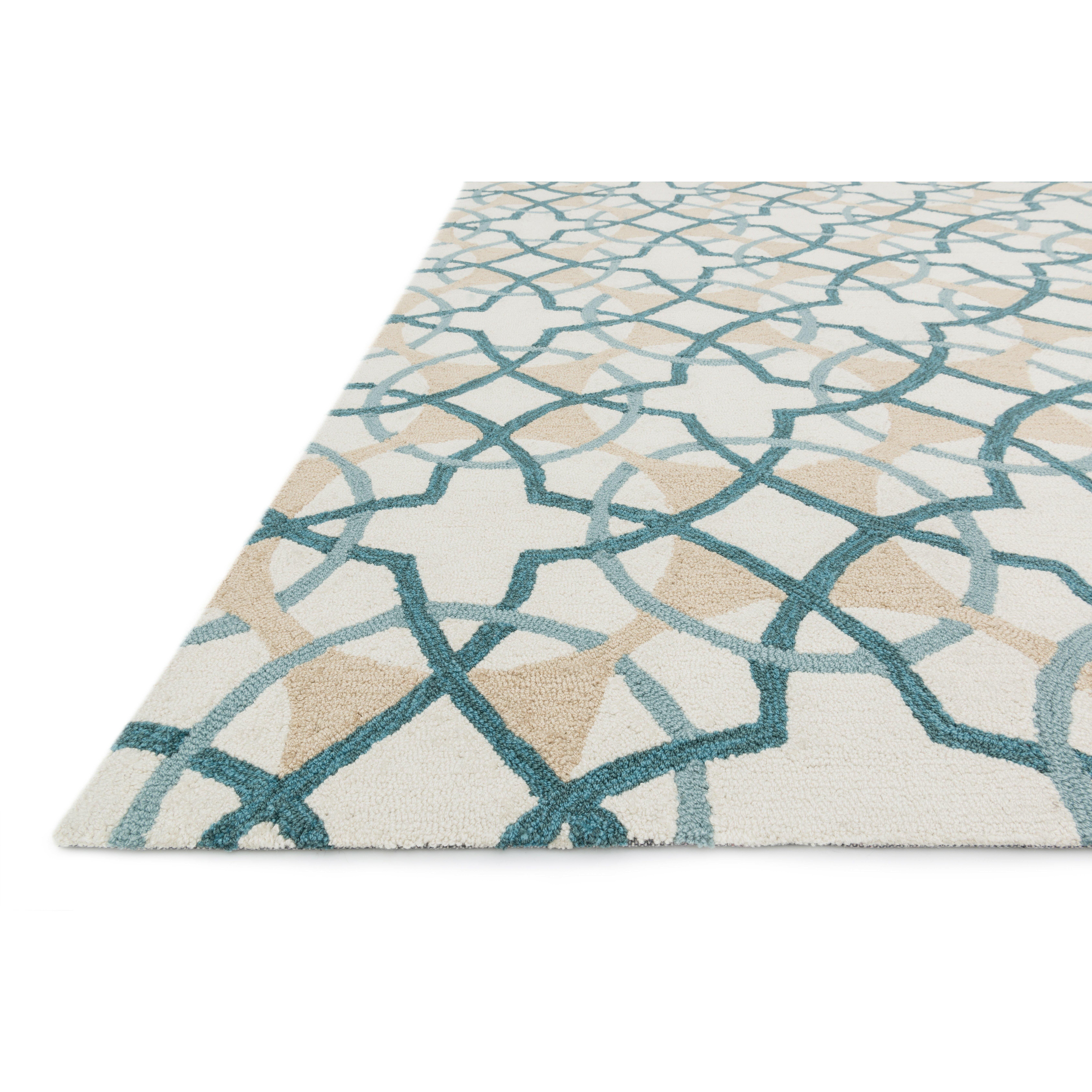 Loloi Rugs Francesca Ivory/Teal Geometric Area Rug