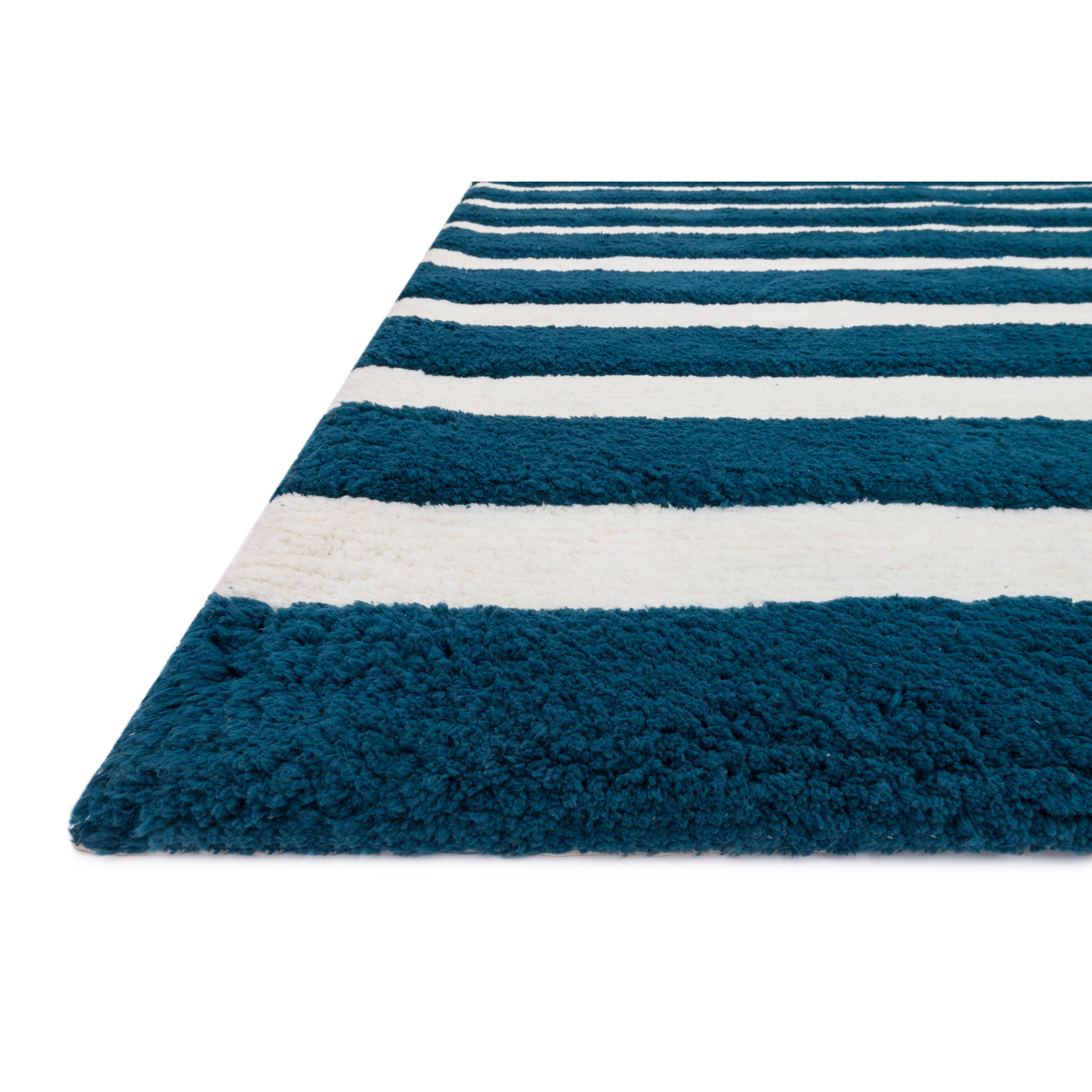 loloi rugs lola handmade navy white shag area rug reviews wayfair. Black Bedroom Furniture Sets. Home Design Ideas