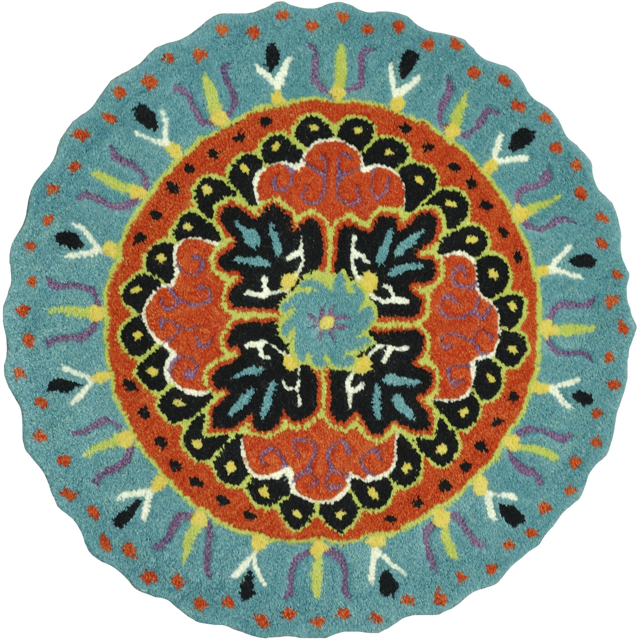 Dog Eating Wool Rug: Loloi Rugs Gardenia Teal/Black Area Rug & Reviews