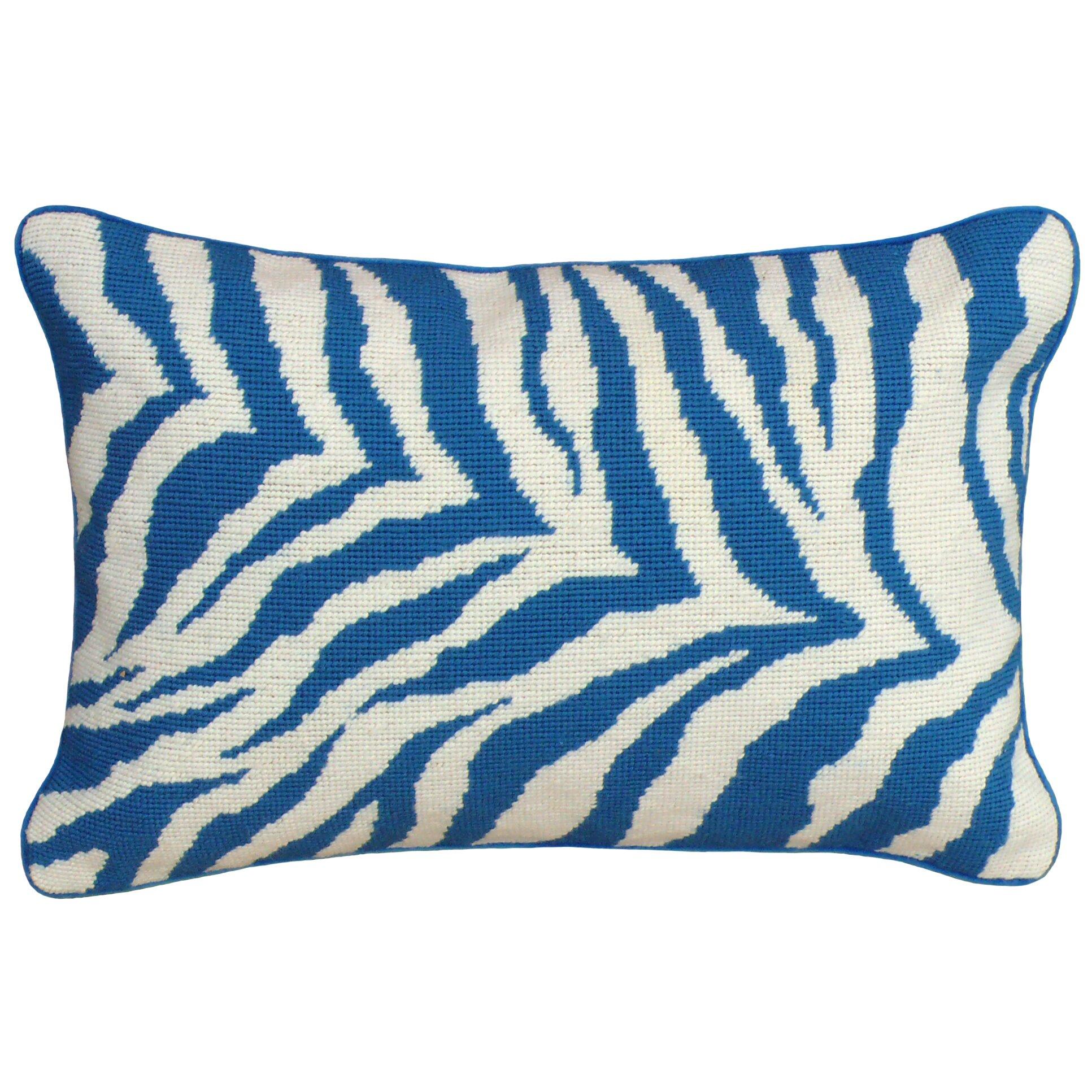 123 Creations Zebra Needlepoint Wool Lumbar Pillow Wayfair