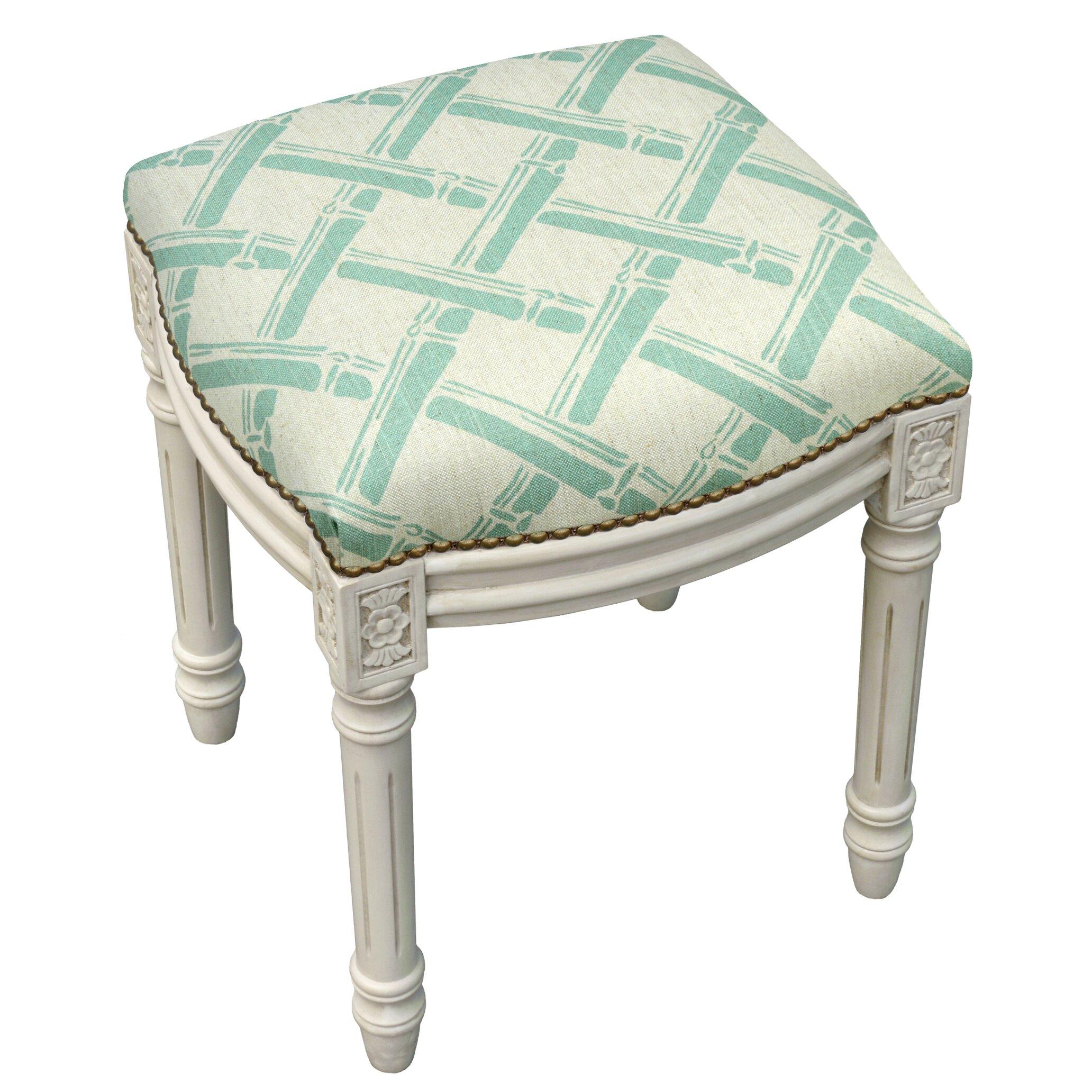 123 Creations Bamboo Trellis Linen Upholstered Vanity