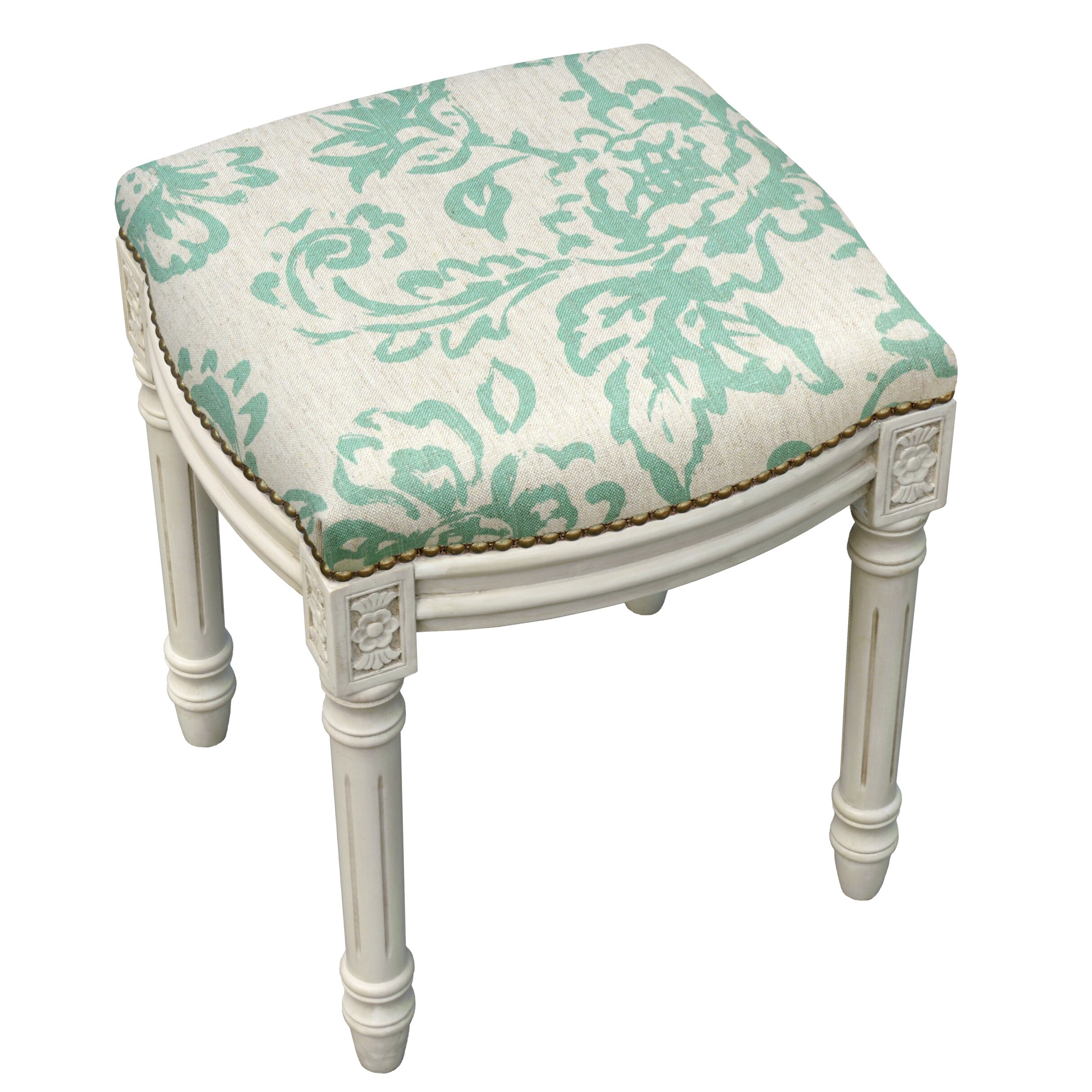 123 Creations Toile Linen Upholstered Vanity Stool With