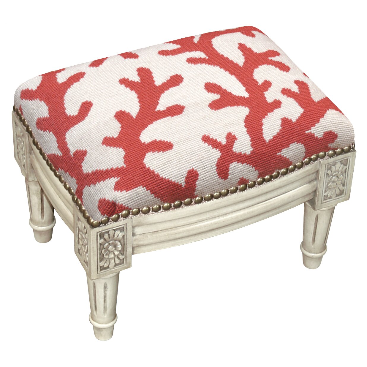 123 Creations Coral Wool Needlepoint Upholstered Footstool