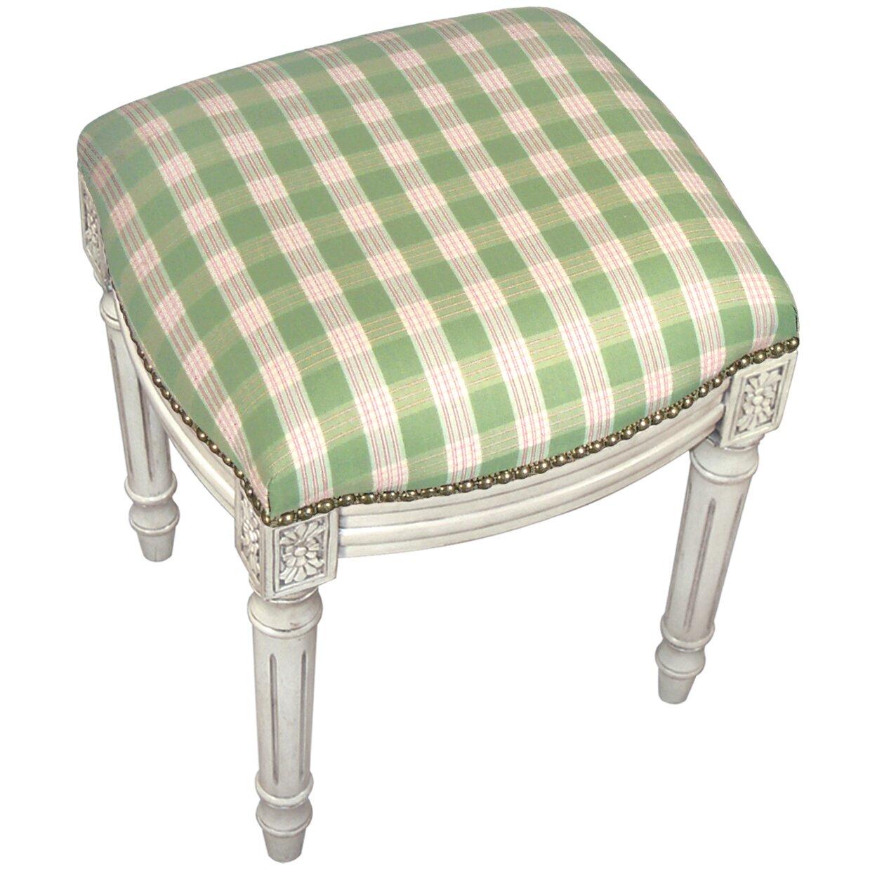 123 Creations Plaid Upholstered Vanity Stool Wayfair