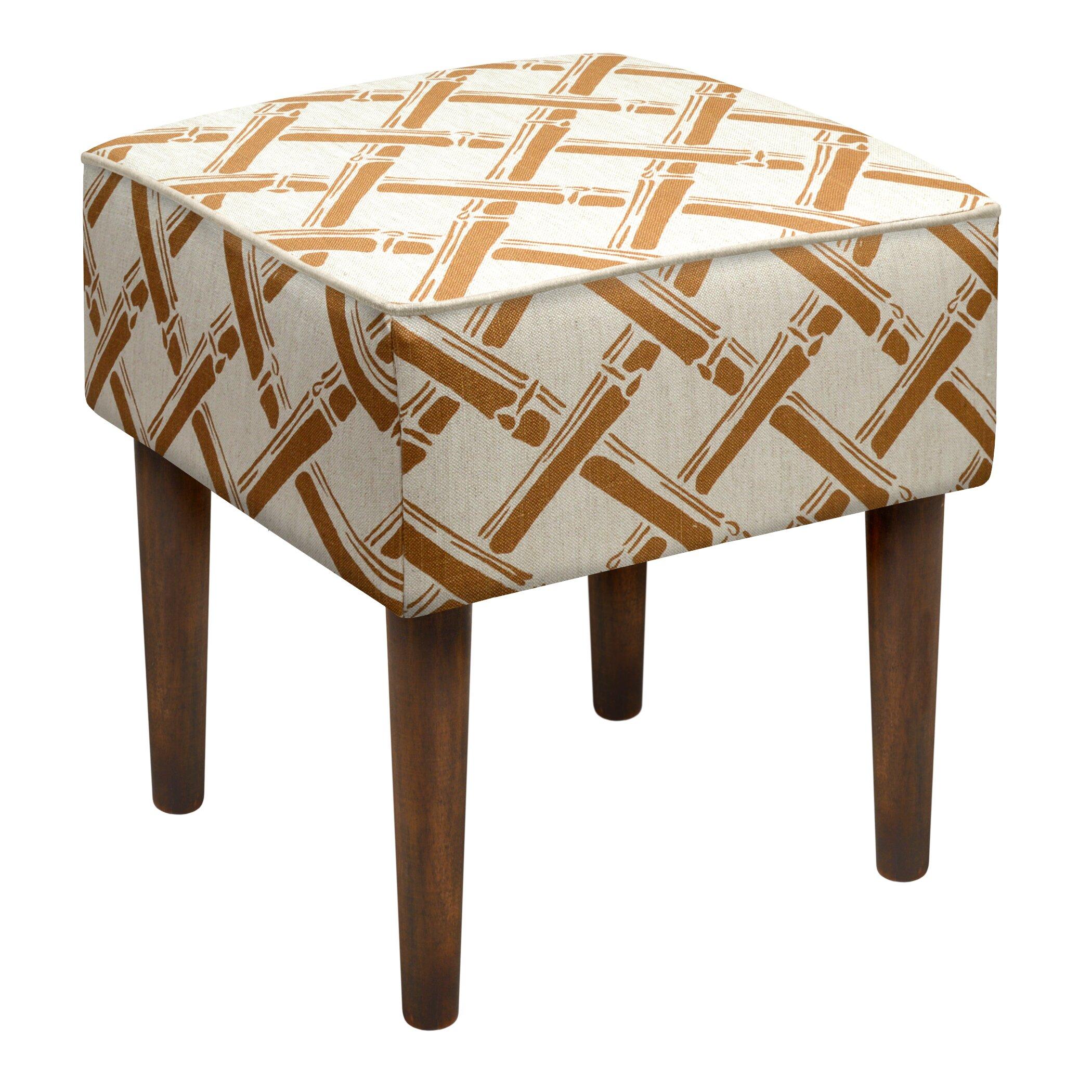 123 Creations Bamboo Trellis Upholstered Vanity Stool