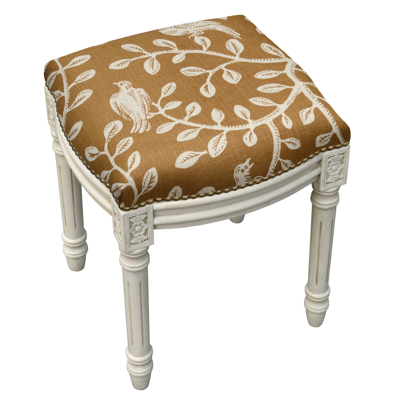 123 Creations Birds And Vines Linen Upholstered Vanity
