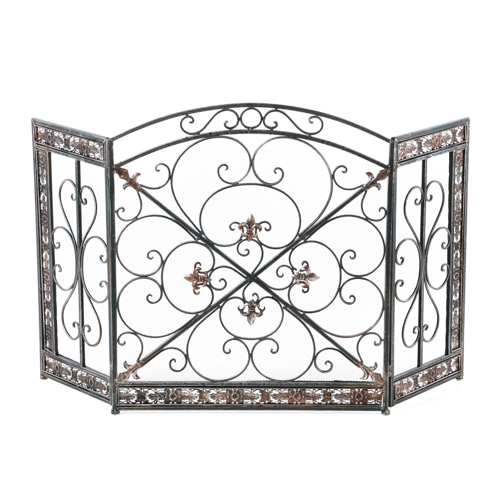 aspire fleur de lis 3 panel iron fireplace screen