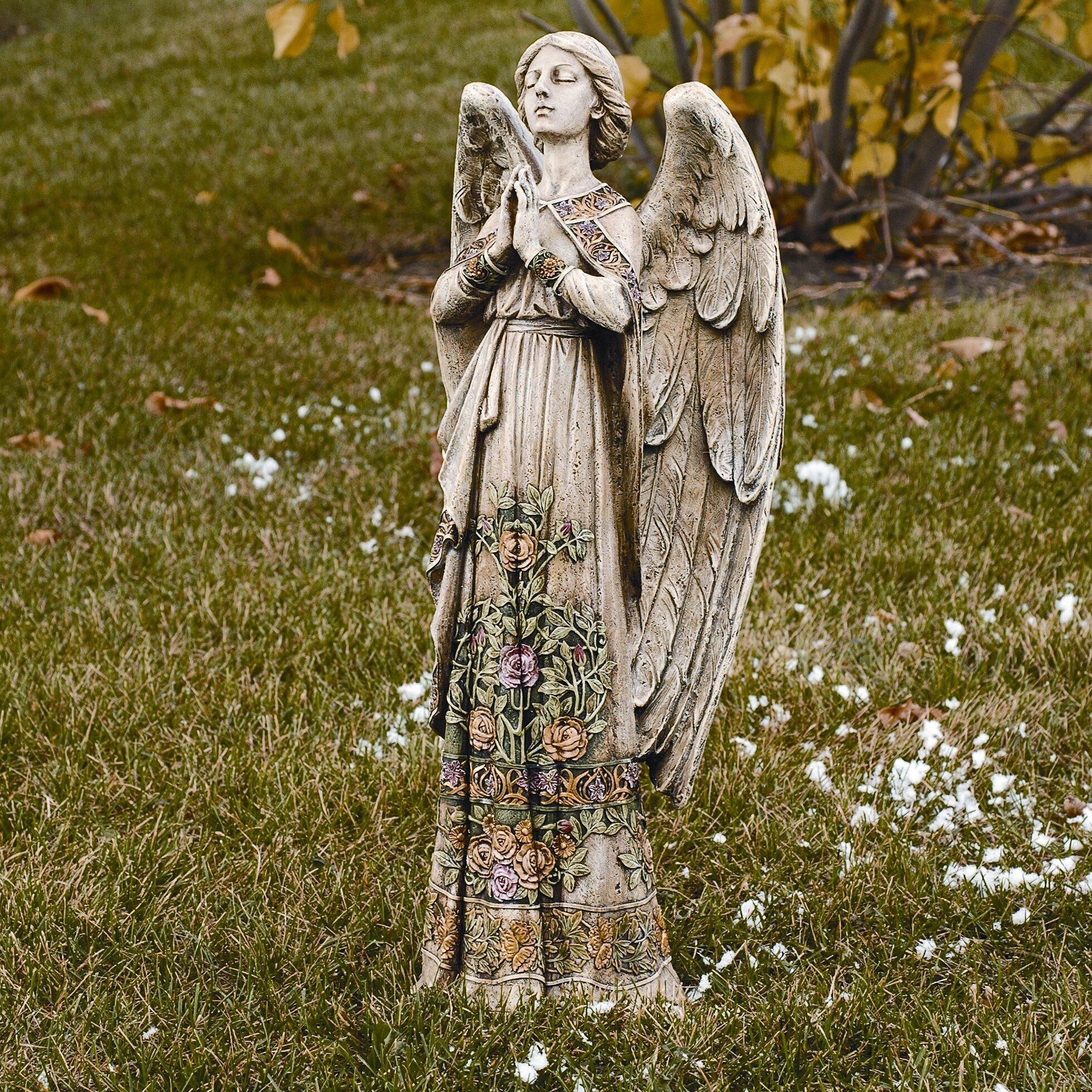 roman inc praying angel garden statue reviews wayfair. Black Bedroom Furniture Sets. Home Design Ideas