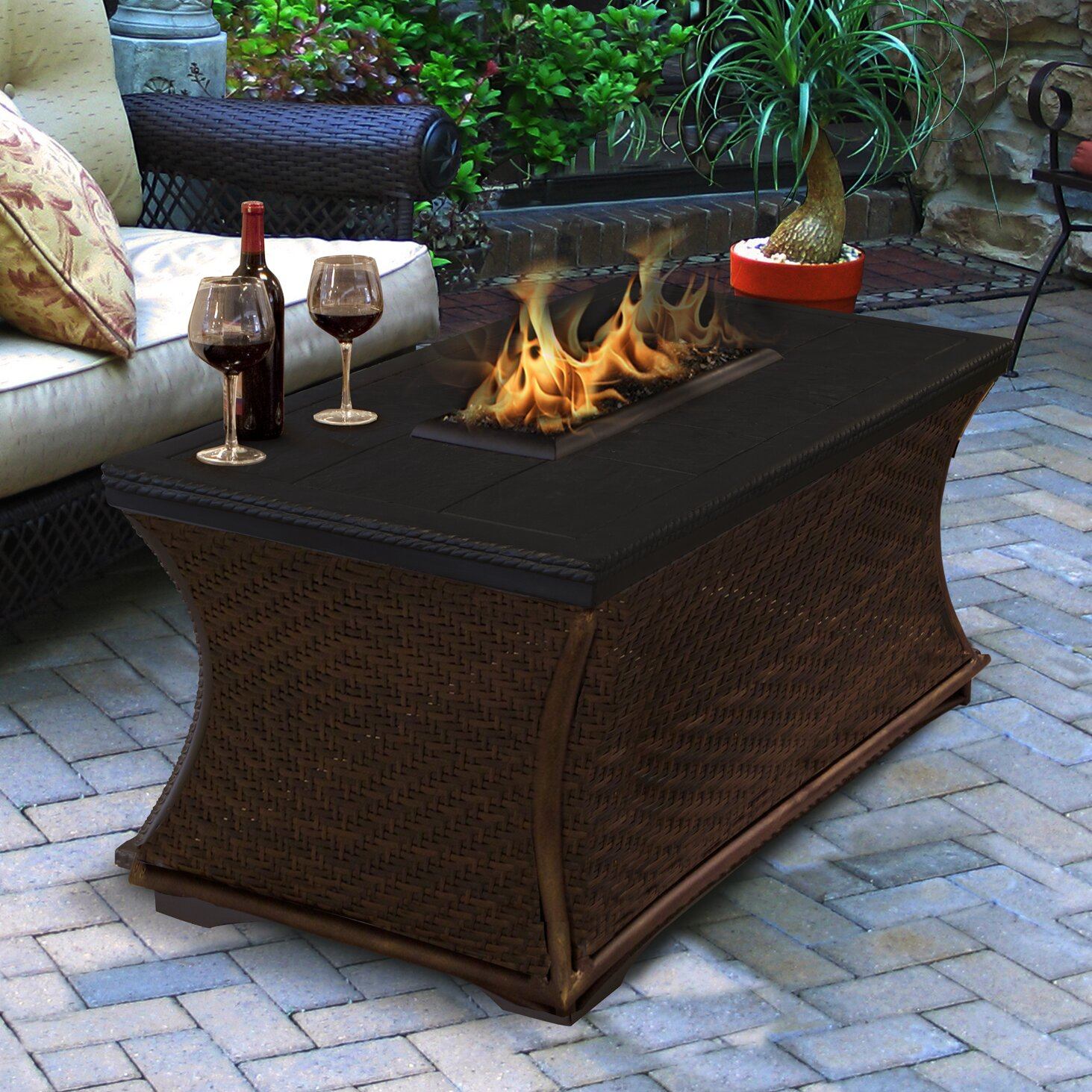 California Outdoor Concepts Mendocino Propane Fire Pit Table Wayfair