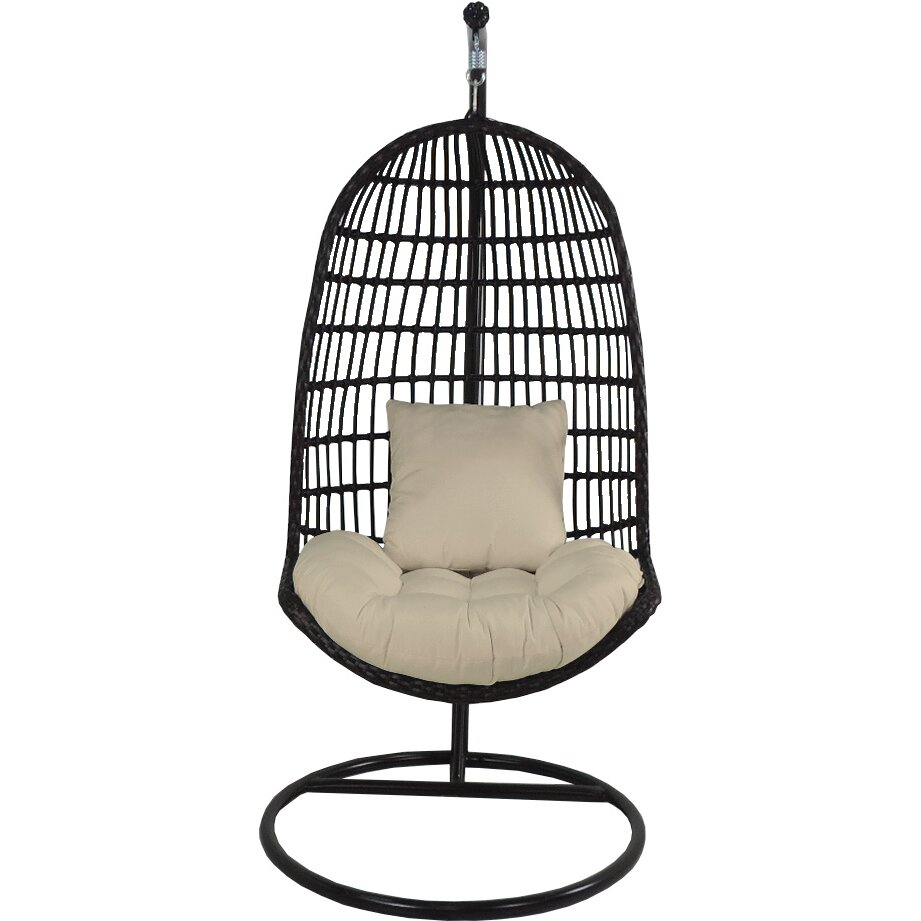 Patio heaven skye bird 39 s nest swing chair with stand for Patio heaven