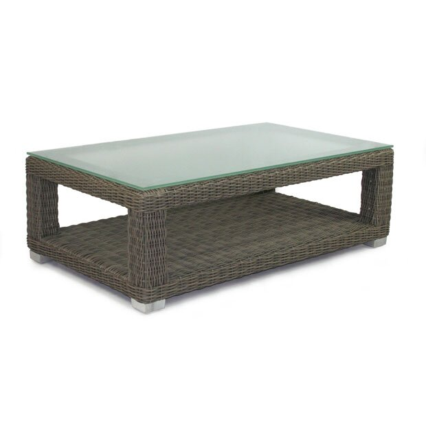 Patio heaven palisades coffee table with tempered glass for Wayfair glass top coffee table