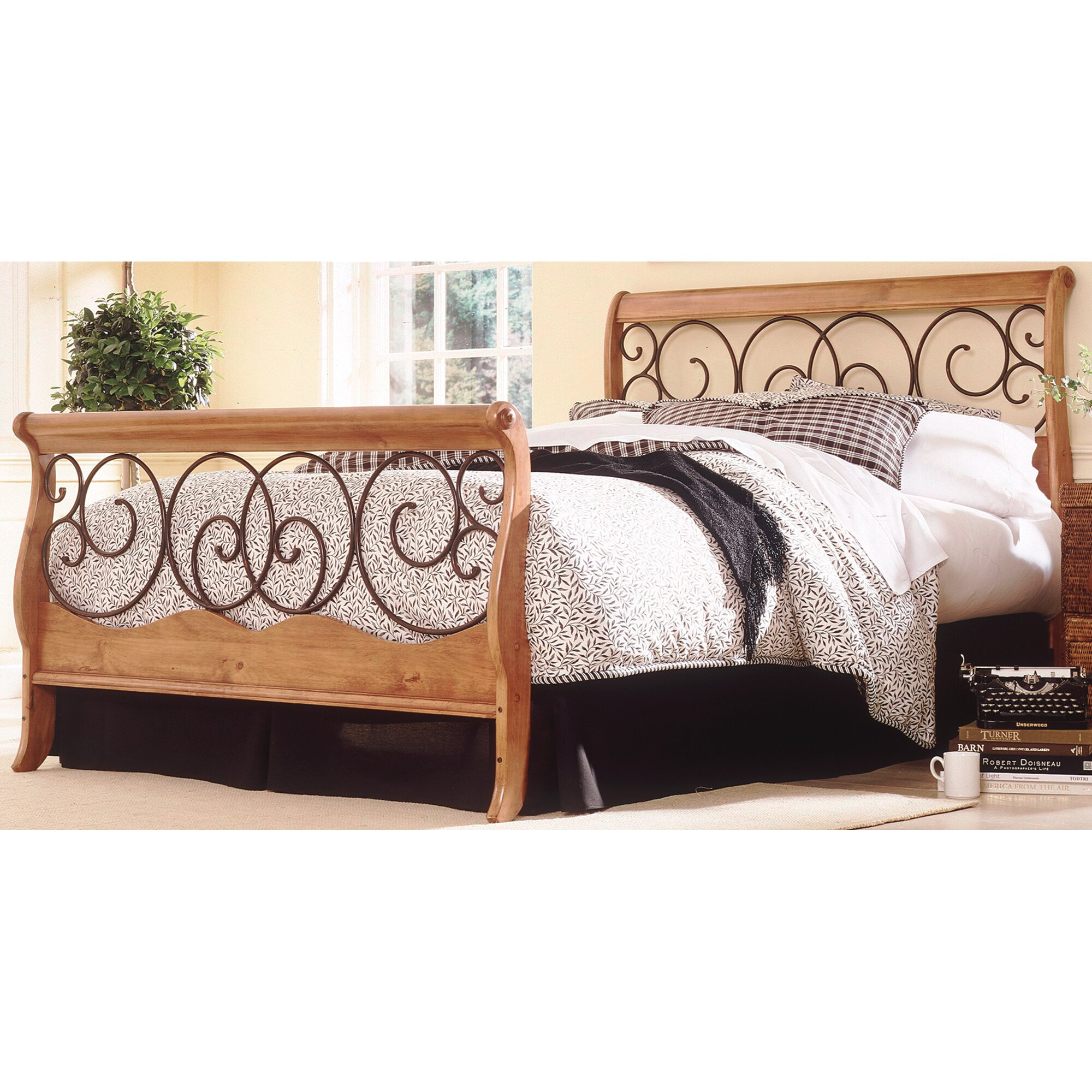 fashion bed group wood and metal sleigh bed reviews wayfair. Black Bedroom Furniture Sets. Home Design Ideas