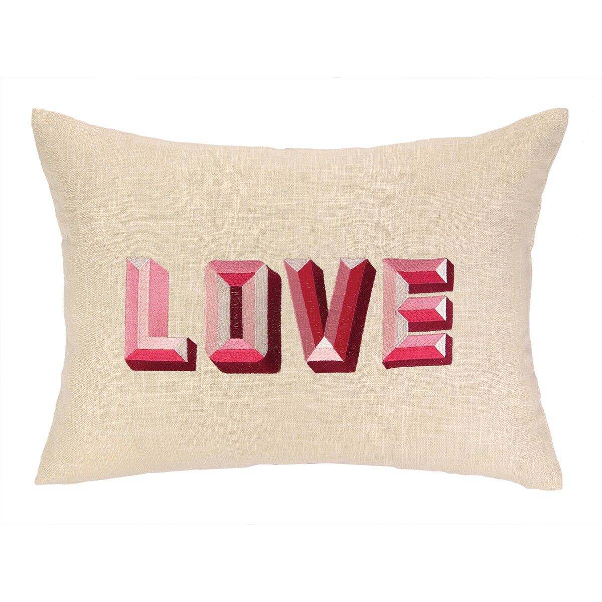 Decorative Love Pillow : D.L. Rhein Love Embroidered Decorative Linen Lumbar Pillow & Reviews Wayfair