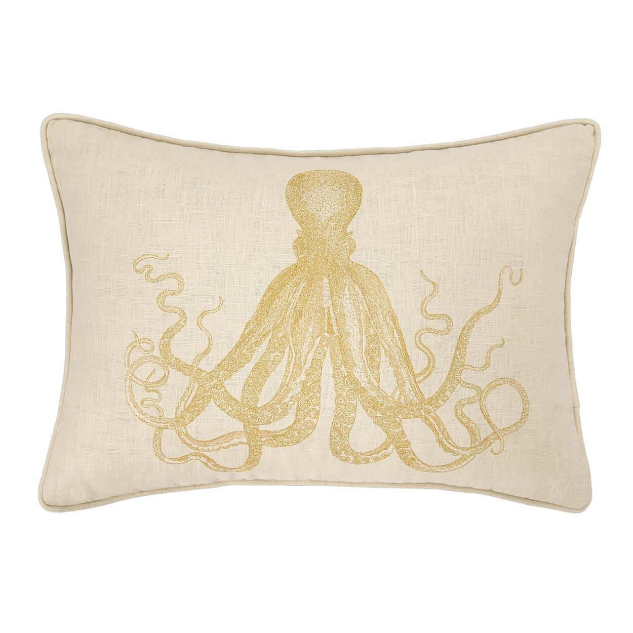 D.L. Rhein Octopus Embroidered Decorative Linen Lumbar Pillow & Reviews Wayfair