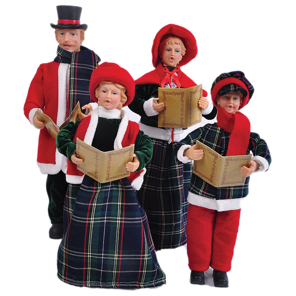 Set Of 4 15 To 18 Victorian Carolers By Santa S Workshop: Santa's Workshop 4 Piece Blue Plaid Caroler Set & Reviews