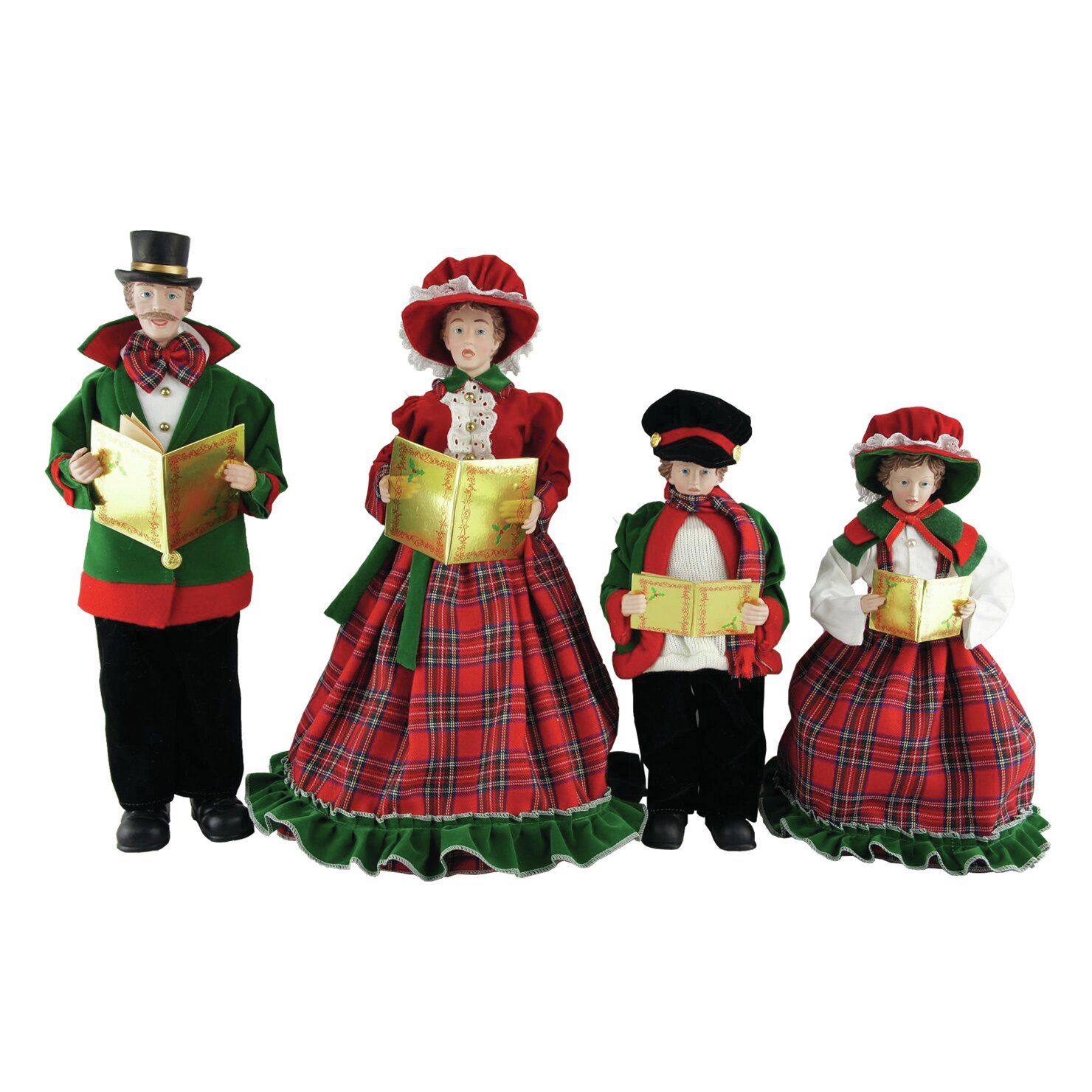 Set Of 4 15 To 18 Victorian Carolers By Santa S Workshop: Santa's Workshop 4 Piece Christmas Day Caroler Figurine
