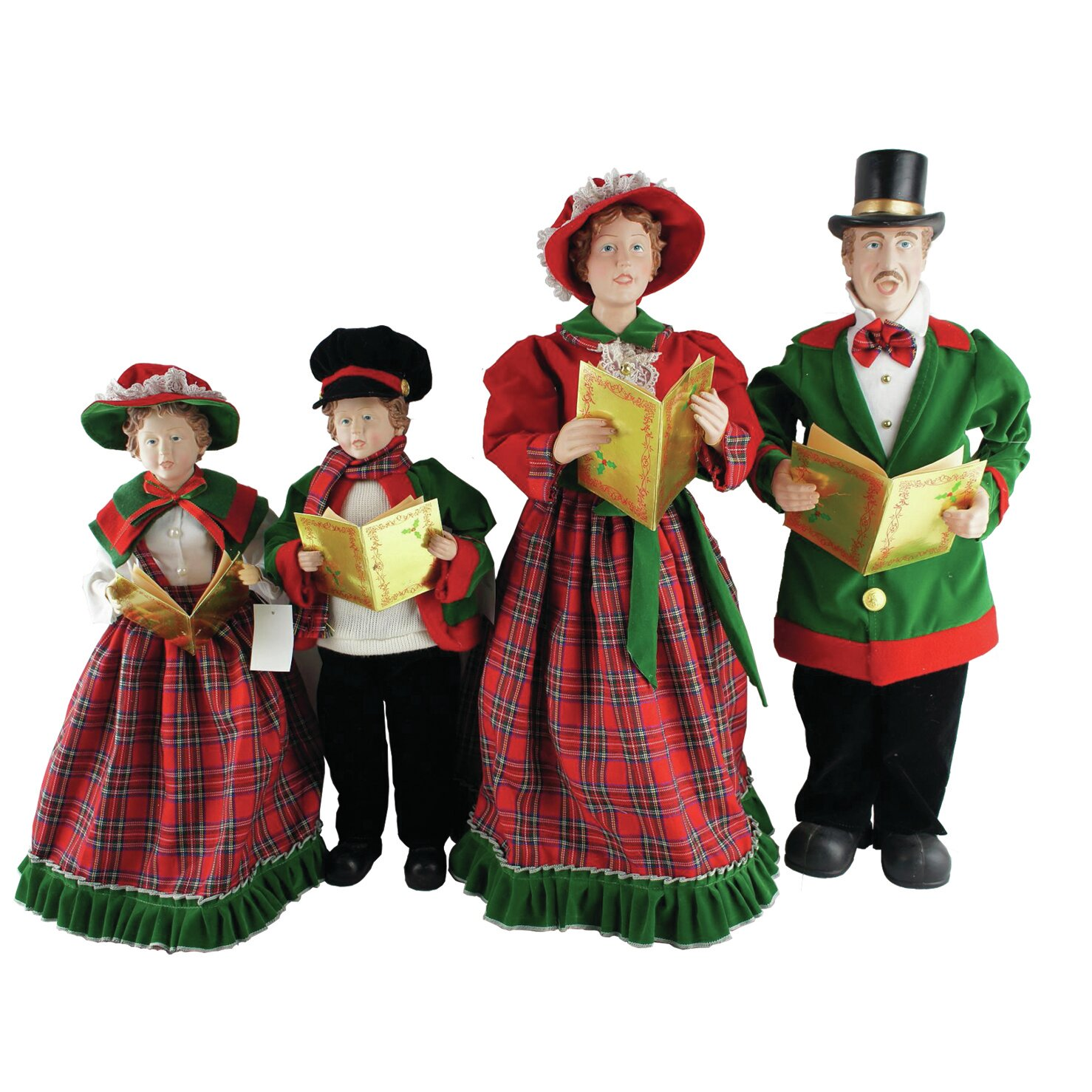 Victorian Christmas Carolers Figurines: Santa's Workshop 4 Piece Christmas Day Caroler Figurine