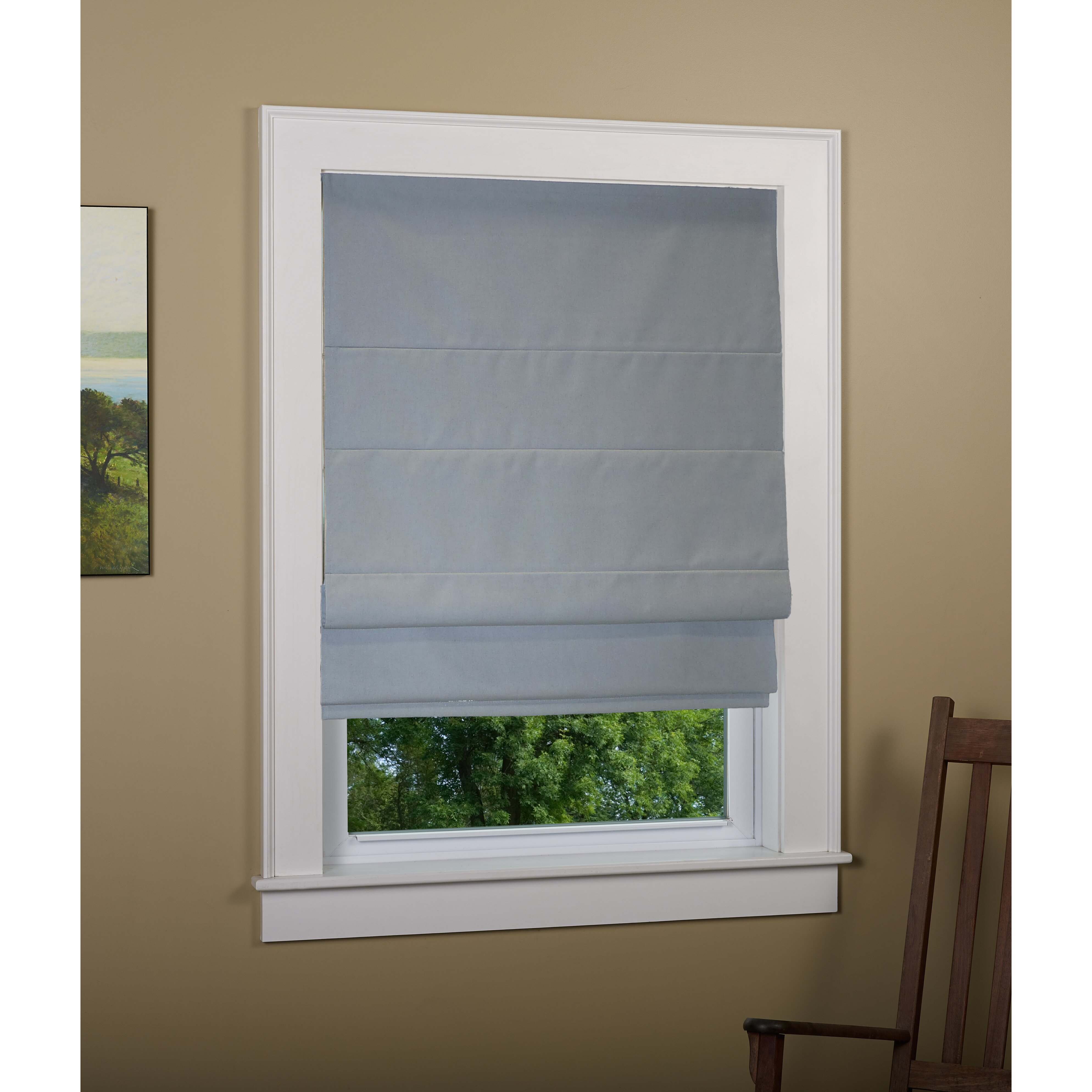 Andover mills richmond linen cordless thermal backed roman for Linen shades window treatments