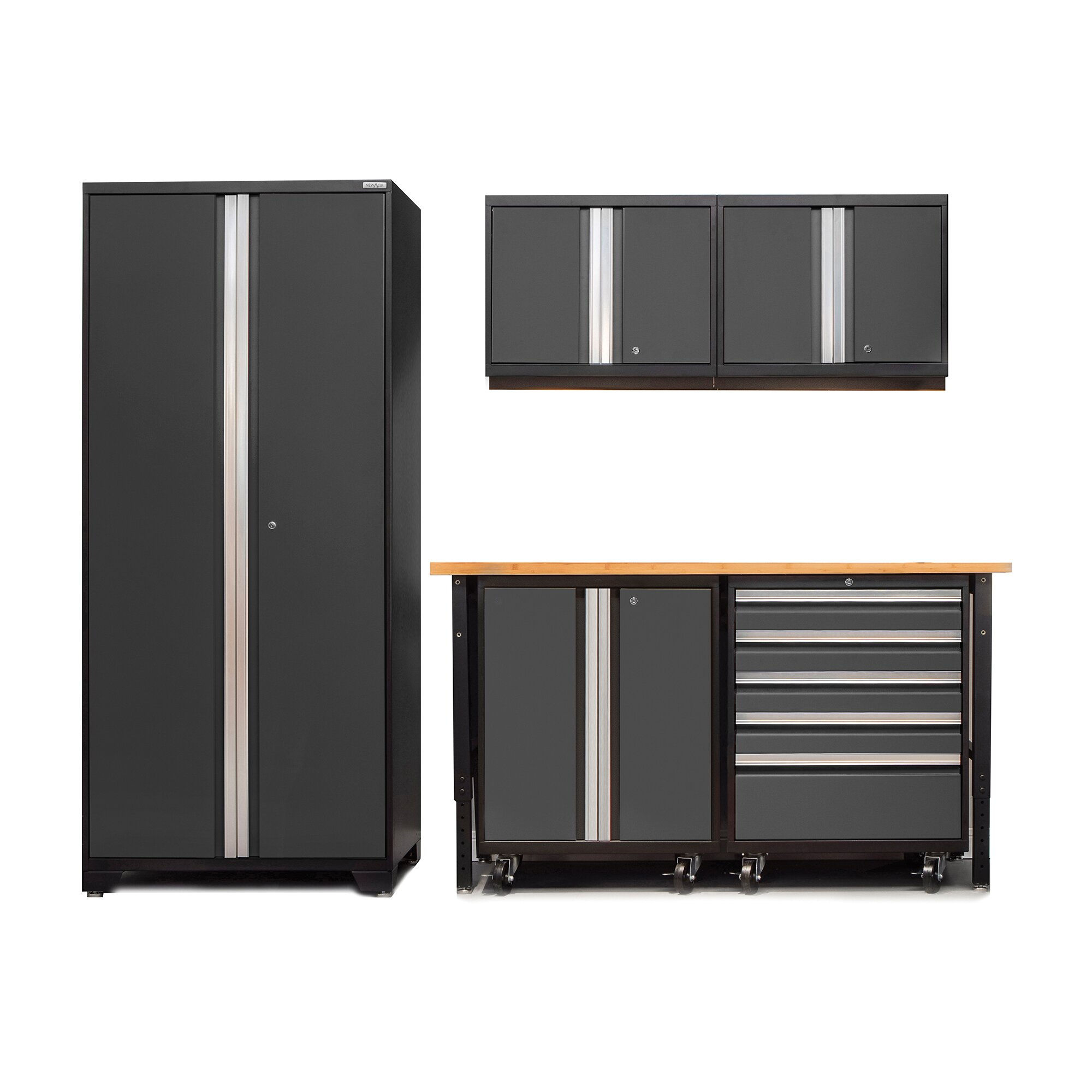 Newage products pro 3 0 series 6 piece garage storage for Garage cabinets