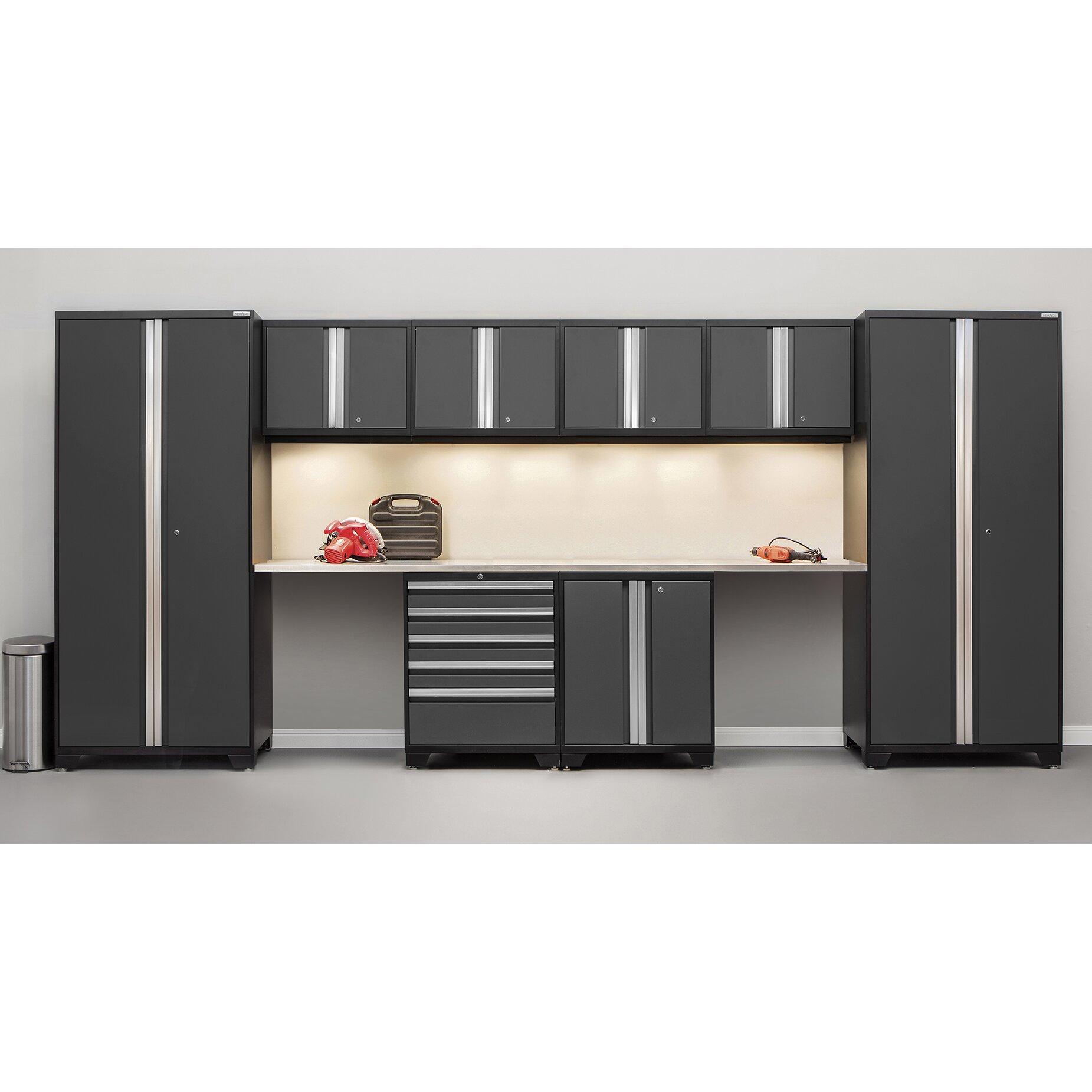 Newage products pro 3 0 series 10 piece garage storage for 3 piece metal kitchen units