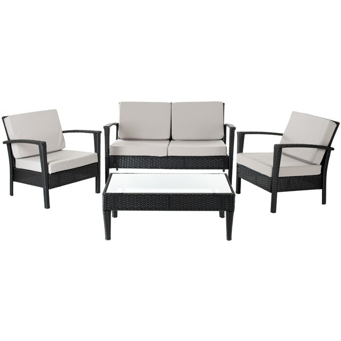 Brayden Studio Steinman 4 Piece Deep Seating Group with Cushions & Review