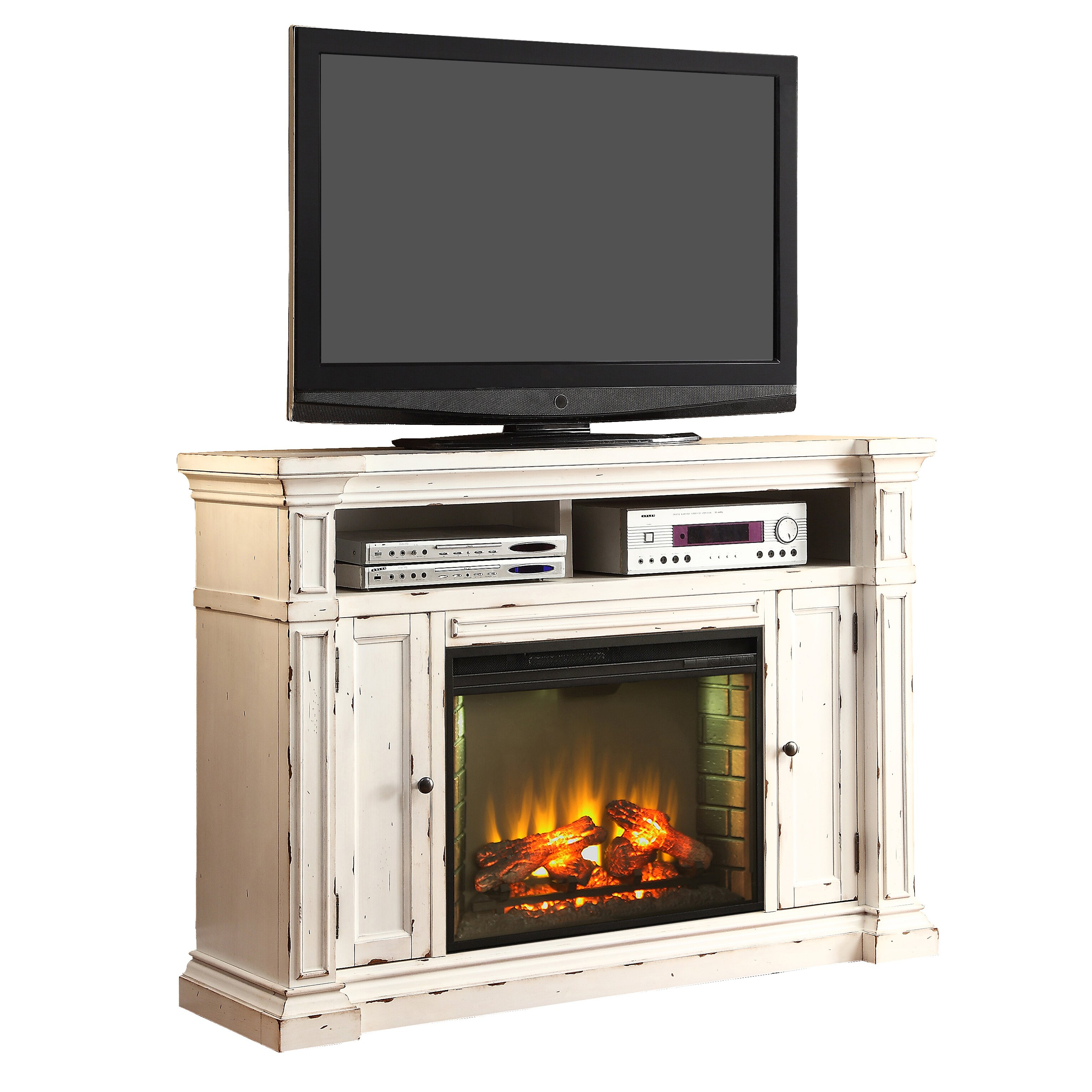White tv stand with electric fireplace - Legends Furniture New Castle Tv Stand With Electric Fireplace