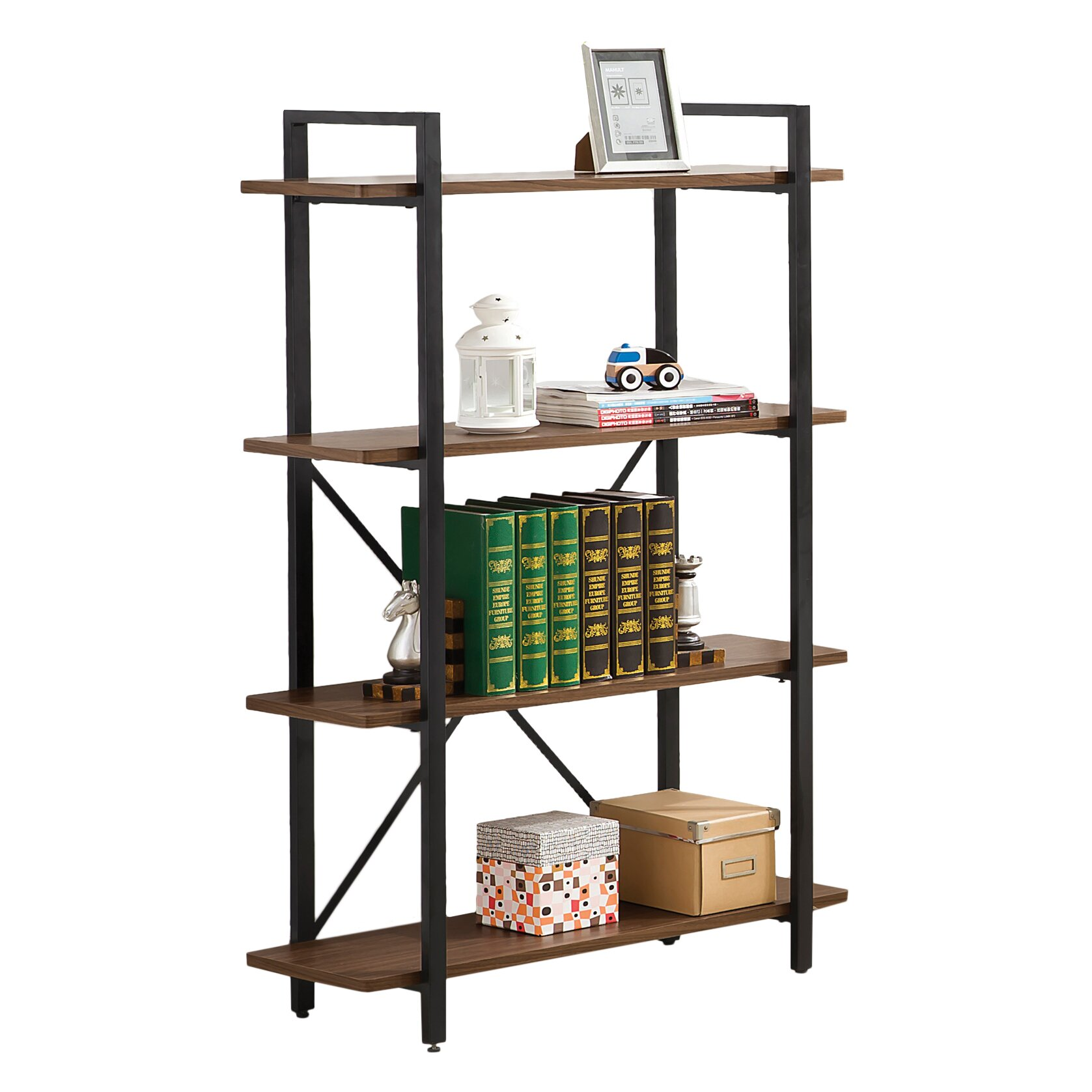 wildon home charlie 52 etagere bookcase reviews wayfair. Black Bedroom Furniture Sets. Home Design Ideas