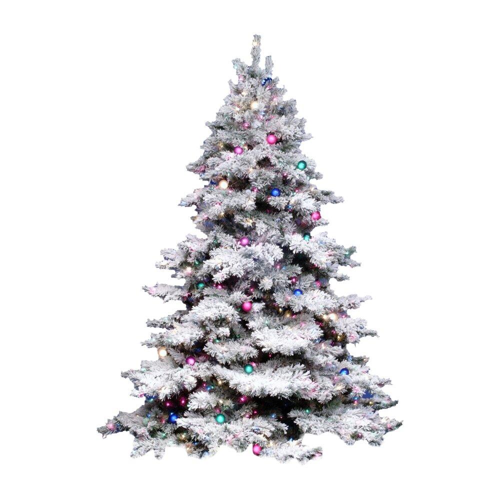 Vickerman Flocked Alaskan 3' White Artificial Christmas ...