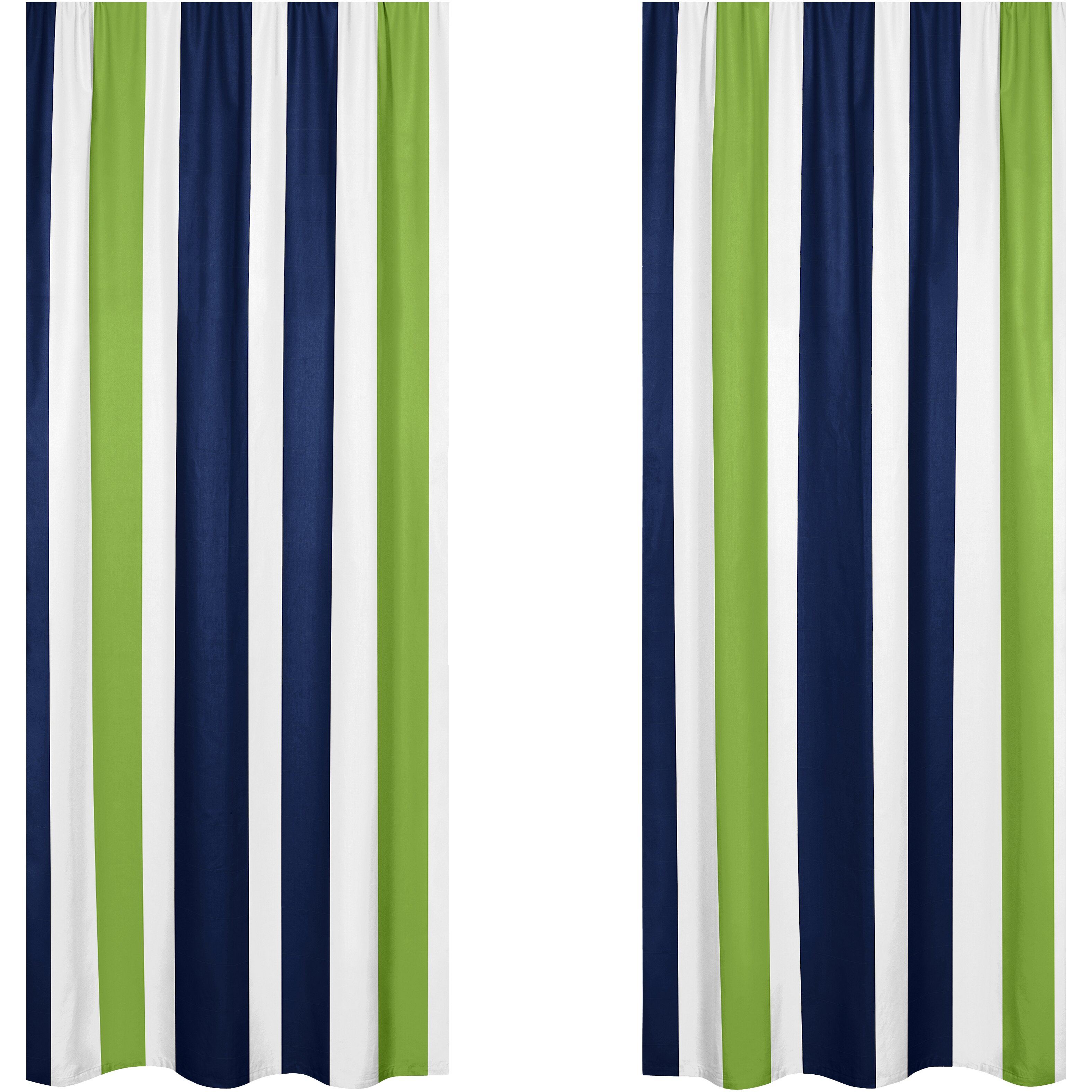 Sweet Jojo Designs Navy Blue And Lime Green Stripe Curtain