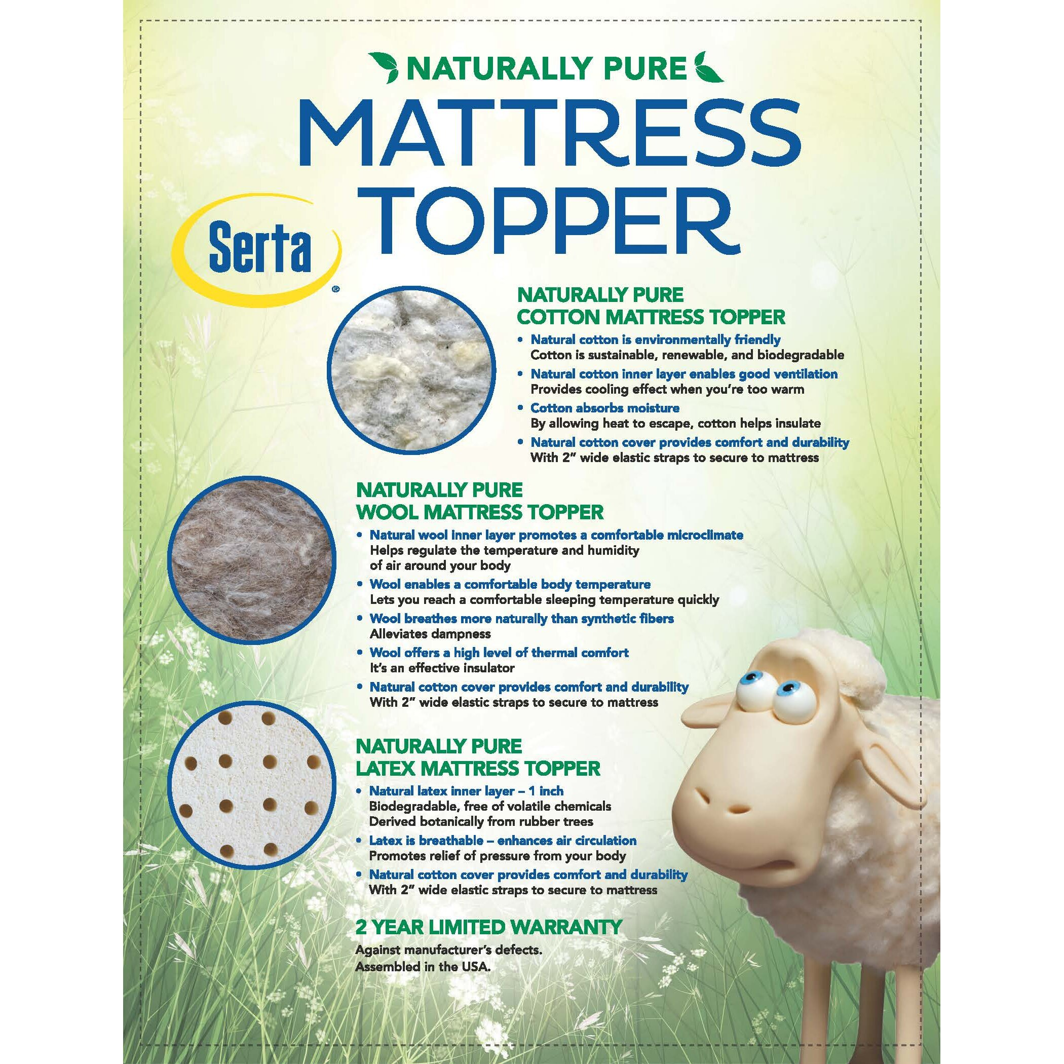 Wolf Mattress Serta Naturally Pure Wool Mattress Topper
