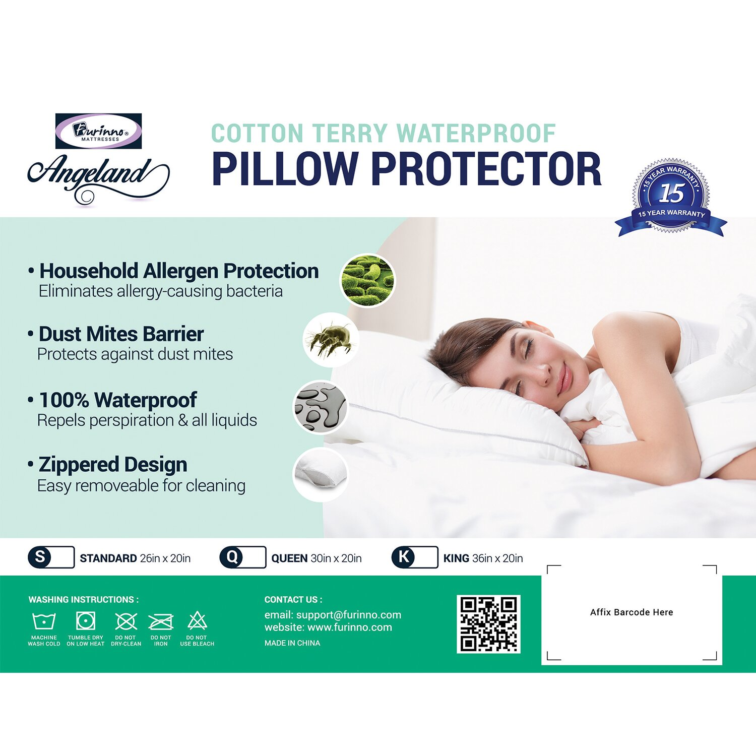 Furinno Angeland Terry Cloth Waterproof Pillow Protector