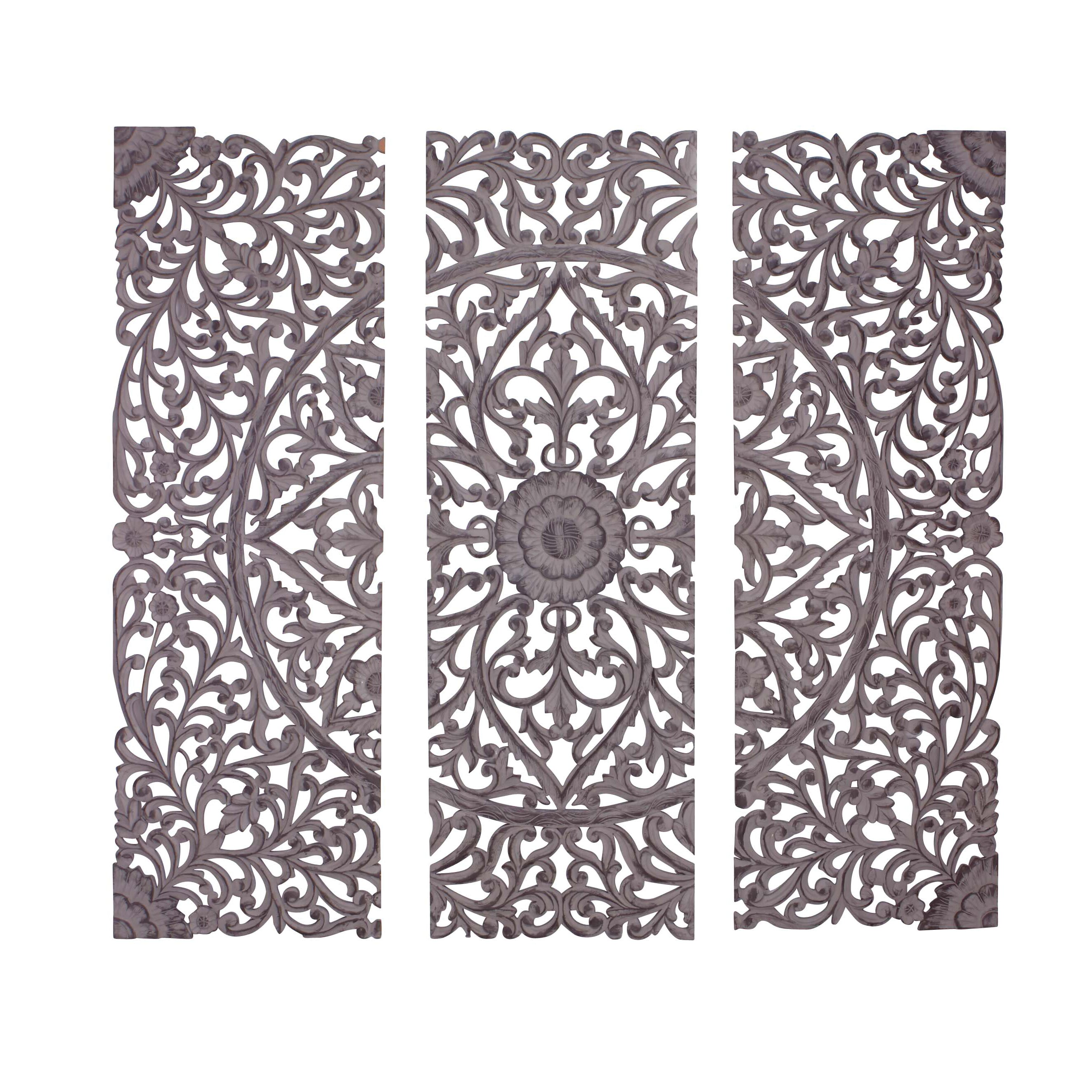 Woodland Imports Panel Wall D�cor Reviews: Woodland Imports 3 Piece The Must Have Wood Carved Panel