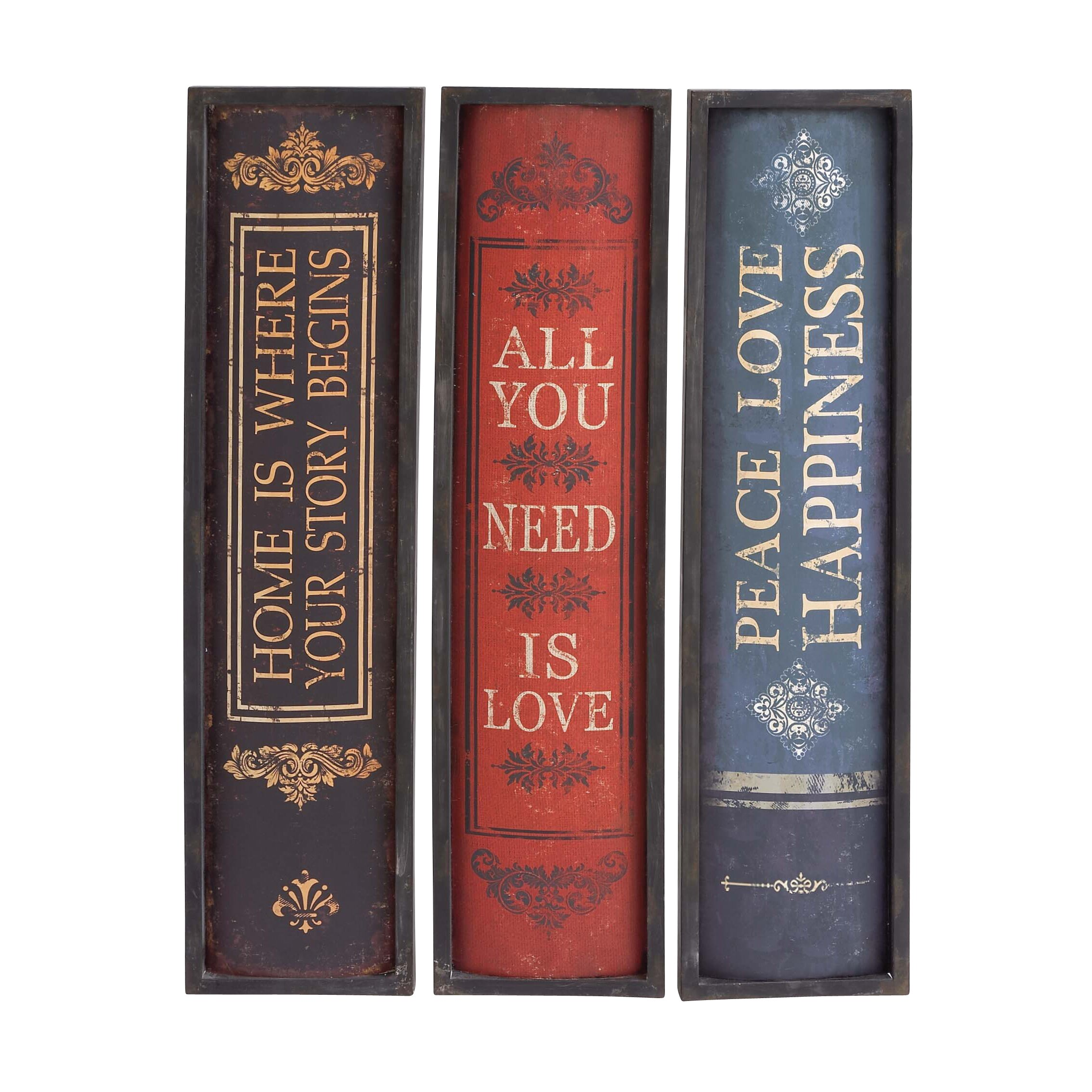 Woodland Imports 3 Piece Attractive Message Holding Metal