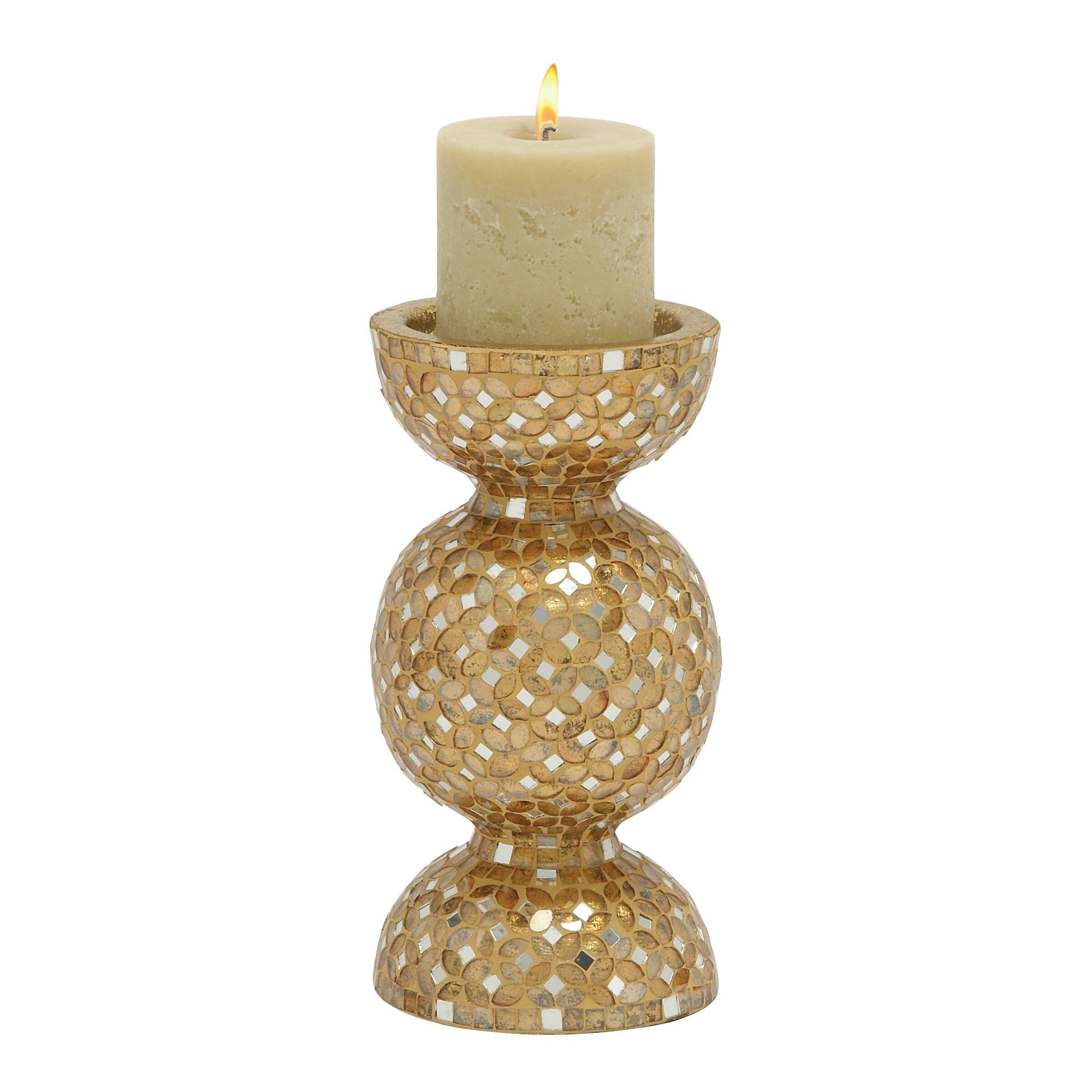 Woodland Imports Metal Mosaic Candlestick amp Reviews Wayfair