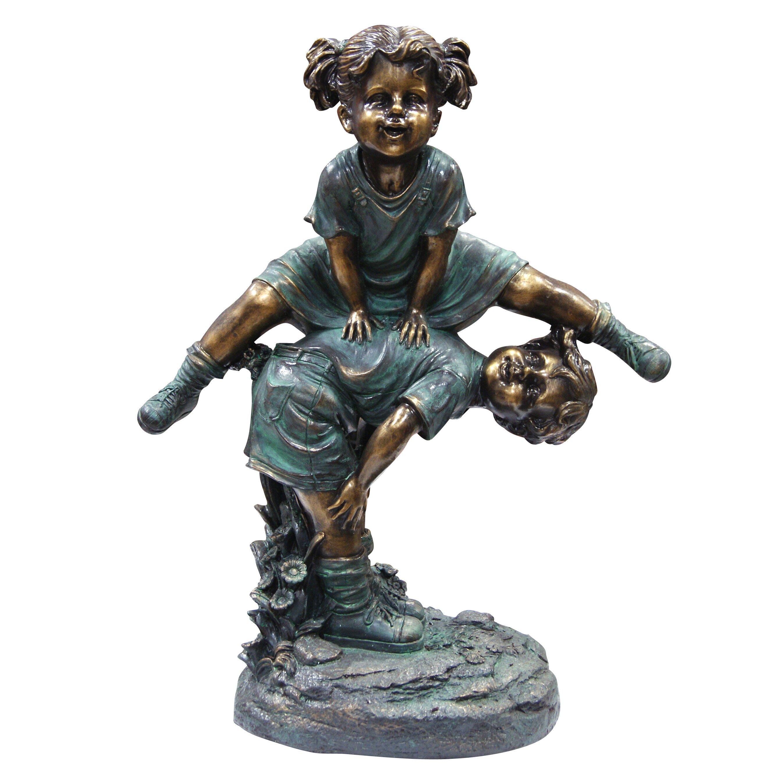 Wayfair Garden Statues: Woodland Imports Girl Jumping Over Boy Statue & Reviews