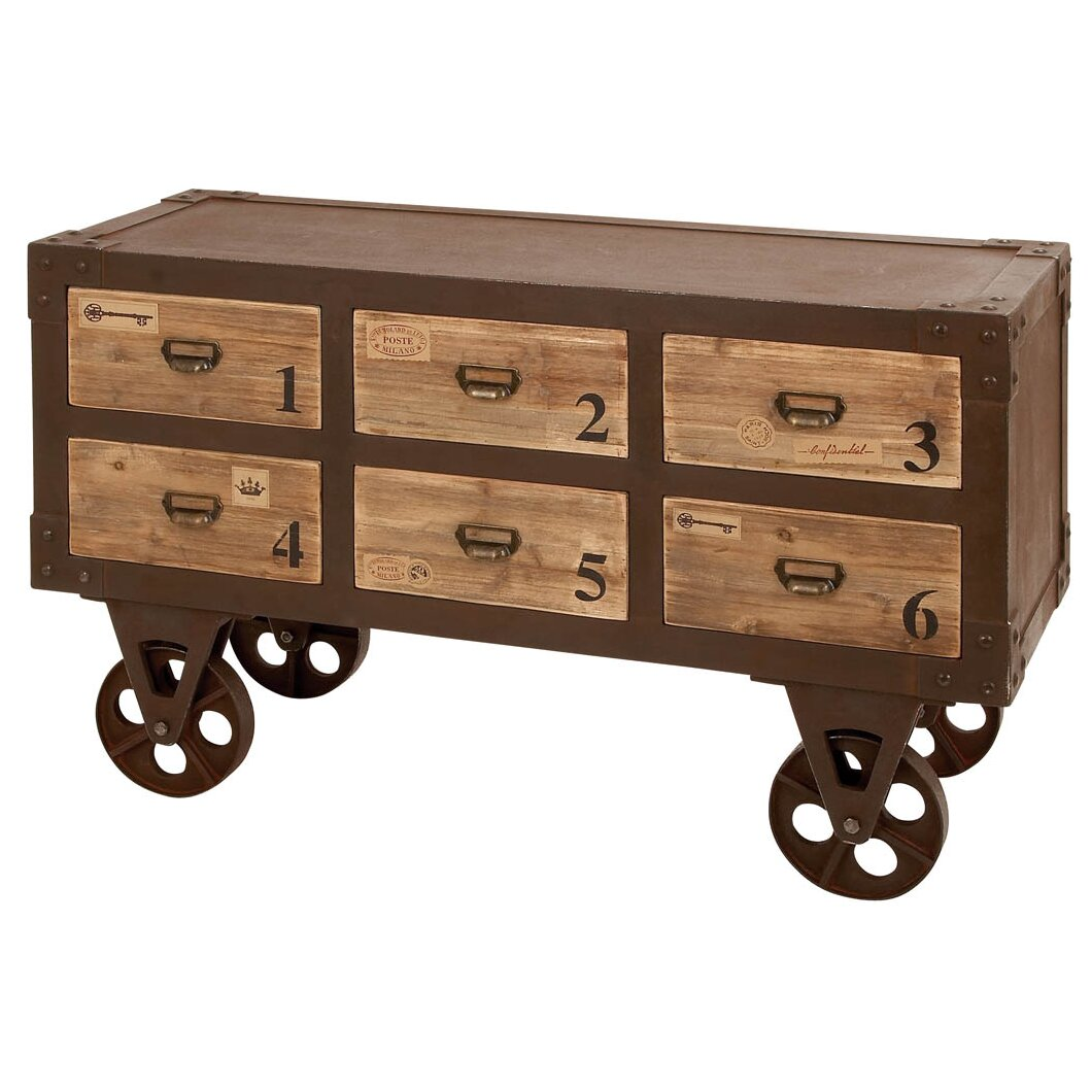 Marvelous photograph of Woodland Imports Metal Wood 6 Drawer Chest & Reviews Wayfair with #8E663D color and 1060x1060 pixels