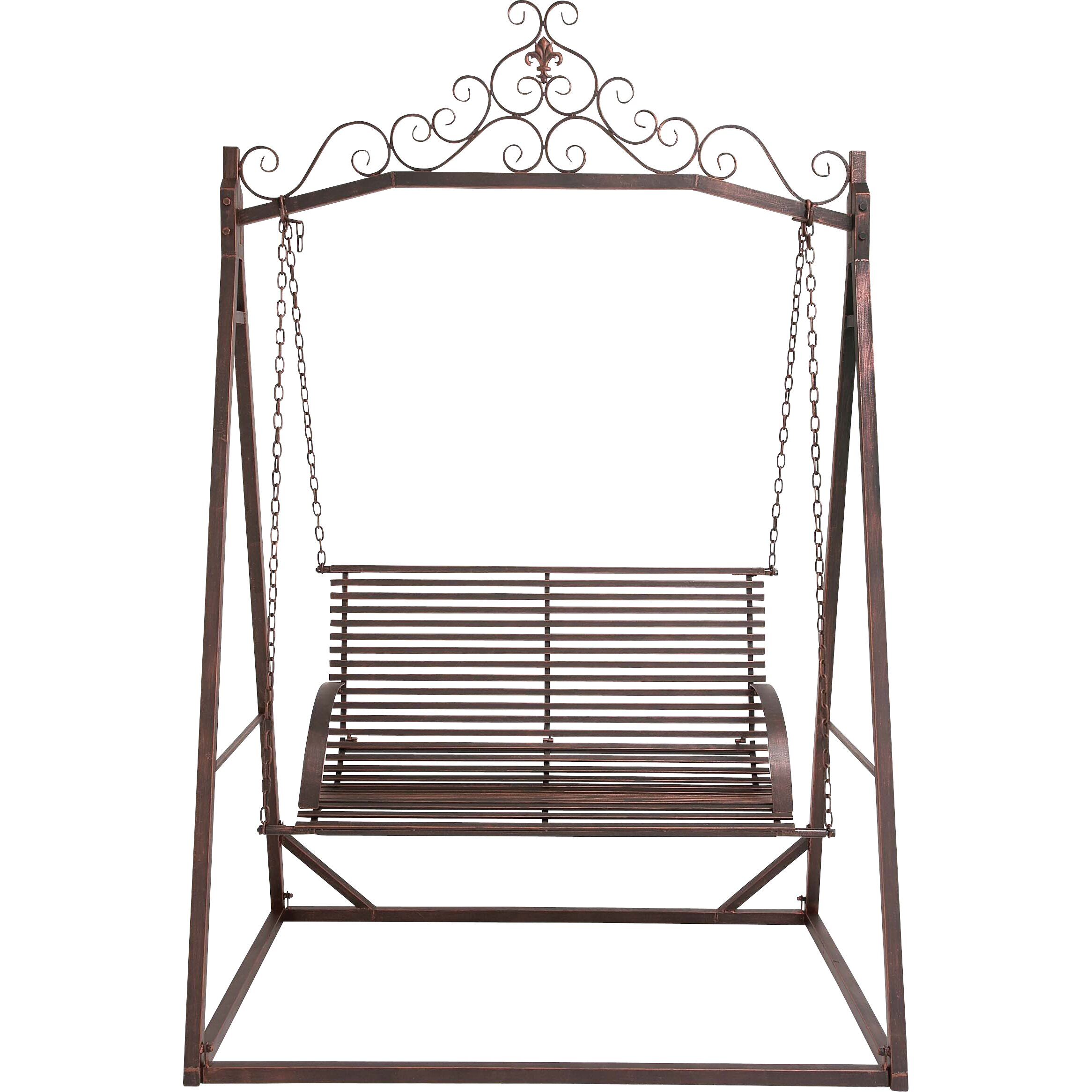 Woodland Imports The Cool Metal Garden Porch Swing | Wayfair