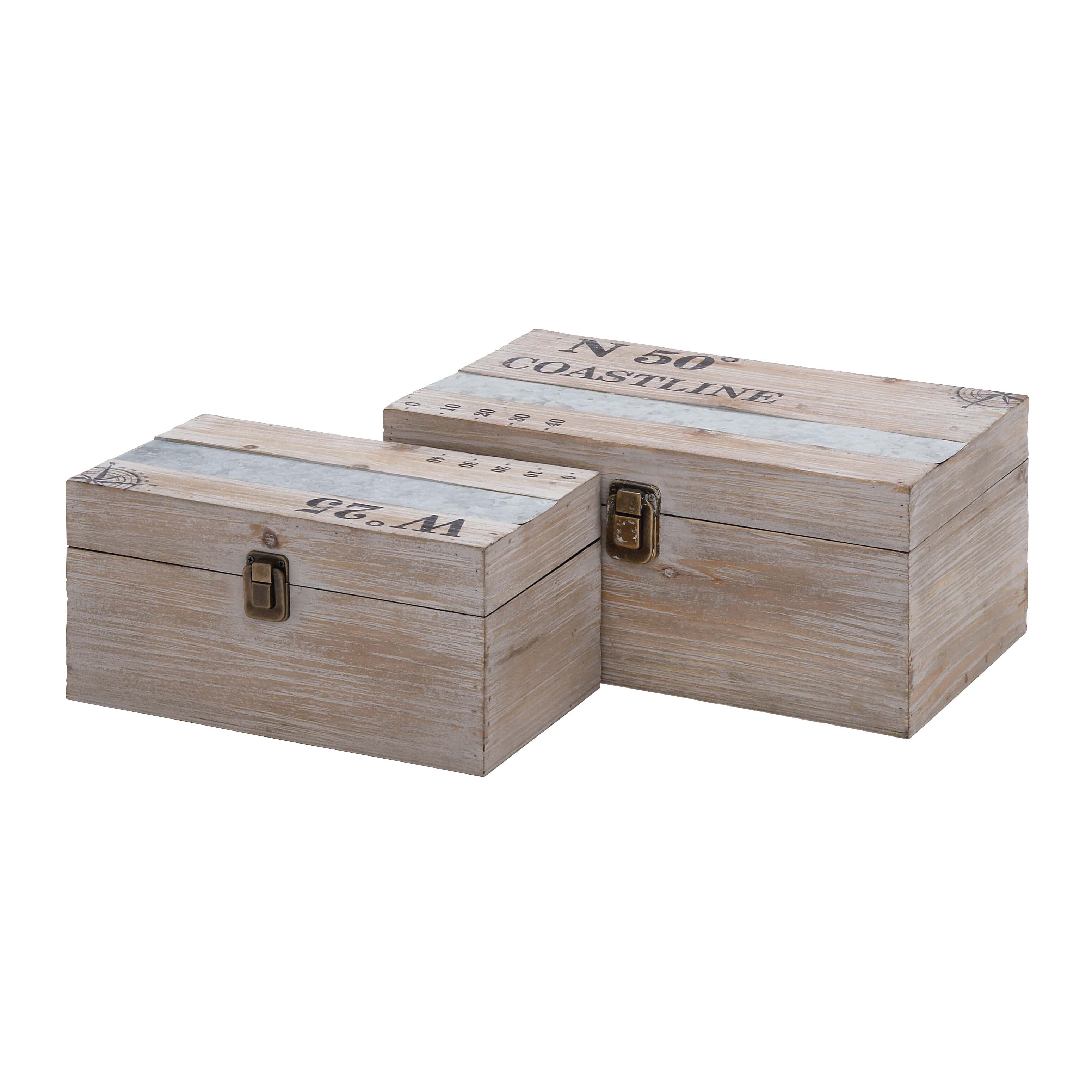 How To Make A Decorative Wooden Box: Woodland Imports 2 Piece Wood And Metal Box Set & Reviews