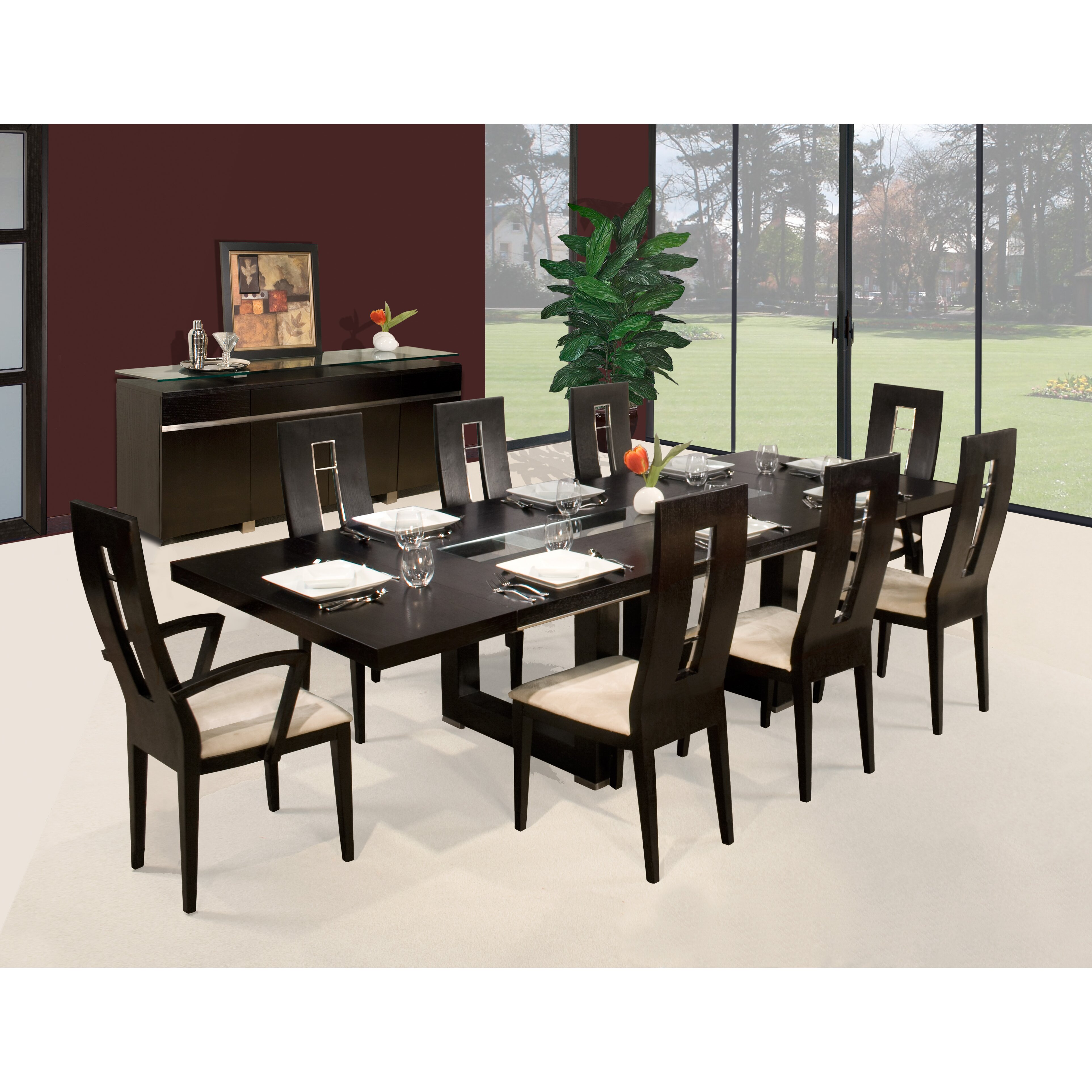 Sharelle furnishings novo 9 piece dining set reviews for Jardin 8 piece dining set