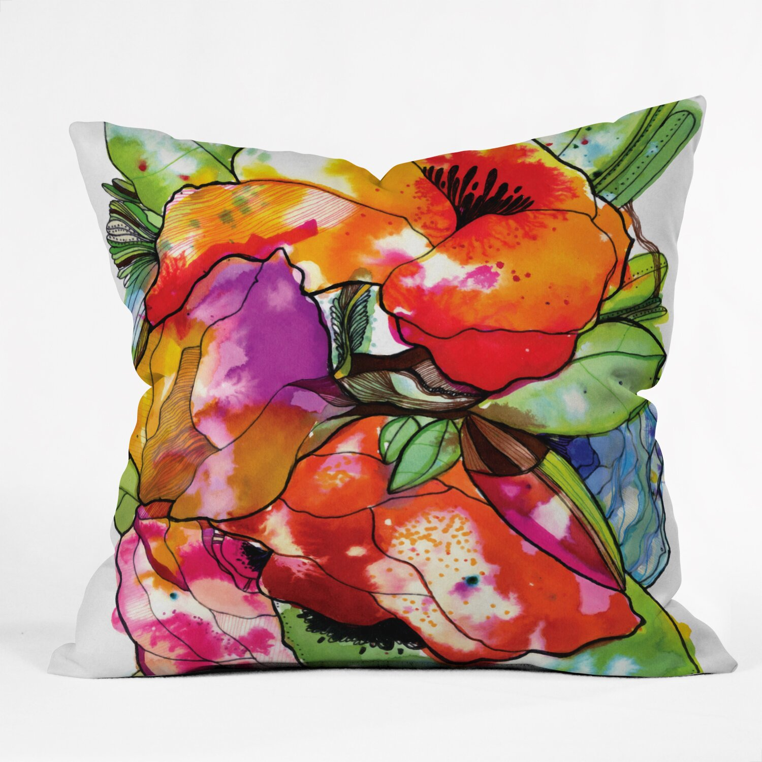 Large Flower Throw Pillow : DENY Designs Cayena Blanca Big Flowers Throw Pillow & Reviews Wayfair
